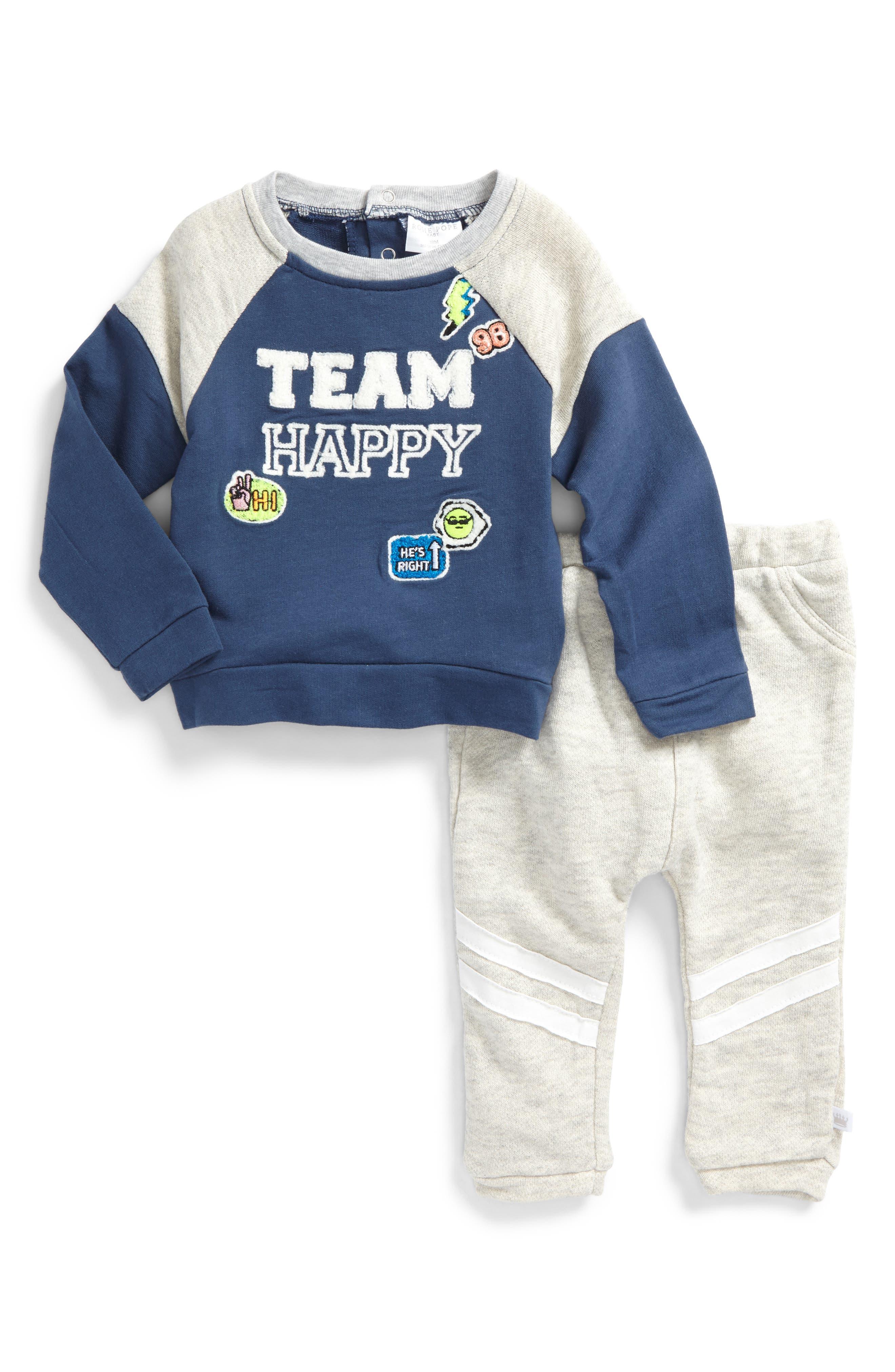 Main Image - Rosie Pope Team Happy Sweatshirt & Sweatpants Set (Baby Boys)