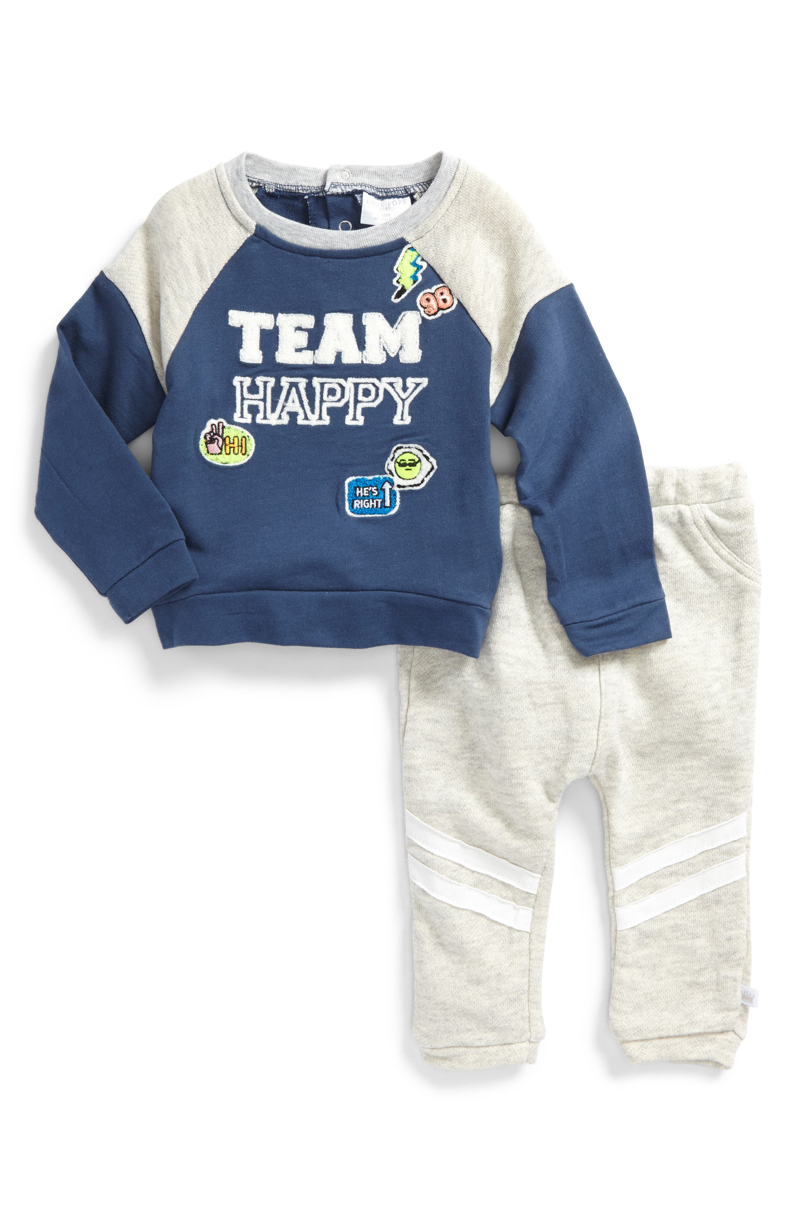 Rosie Pope Team Happy Sweatshirt & Sweatpants Set (Baby Boys)