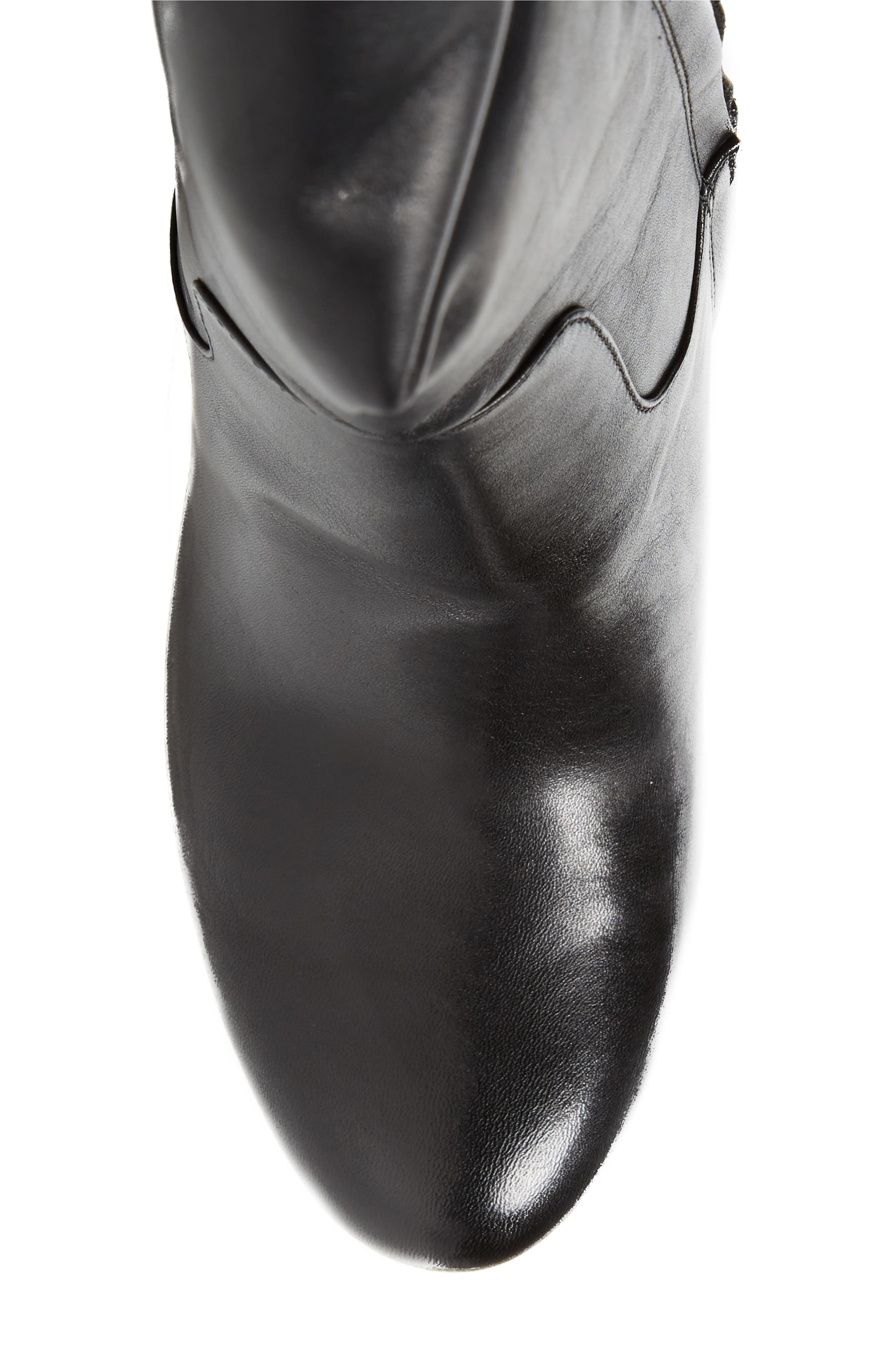 Janice Knee High Boot,                             Alternate thumbnail 5, color,                             Black Calf Leather