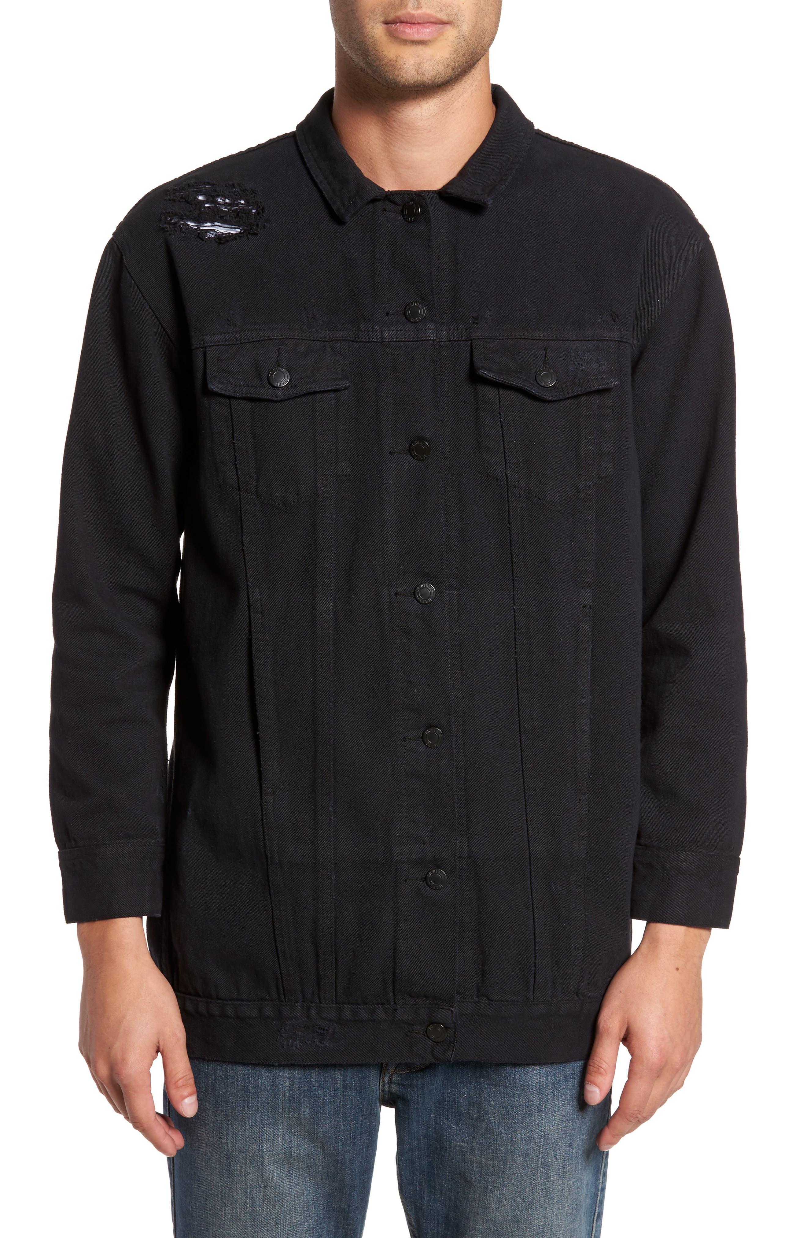 Lindso Distressed Denim Jacket,                             Alternate thumbnail 4, color,                             Black Damage