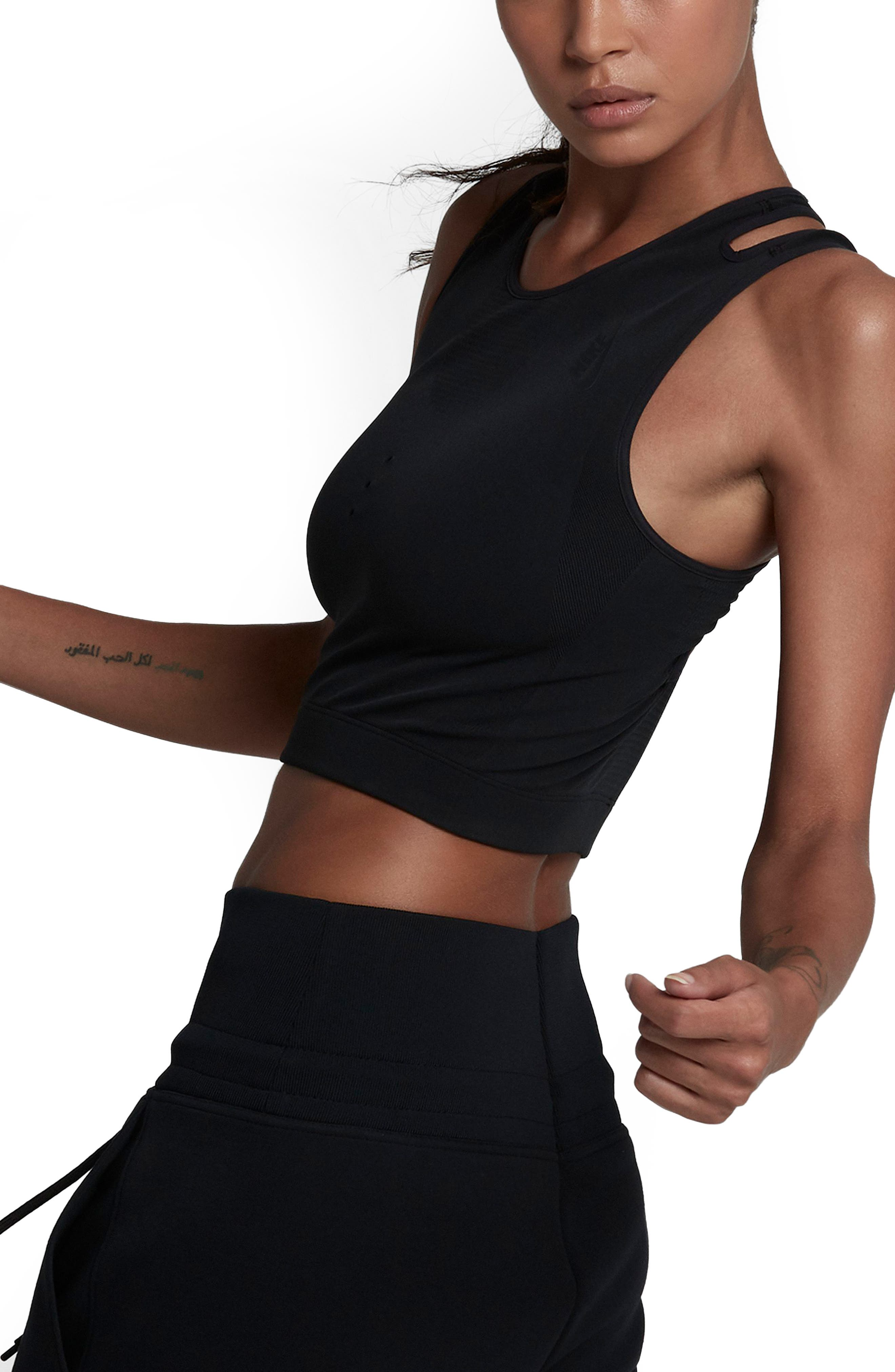 NikeLab NK One Crop Tank,                             Alternate thumbnail 3, color,                             Black