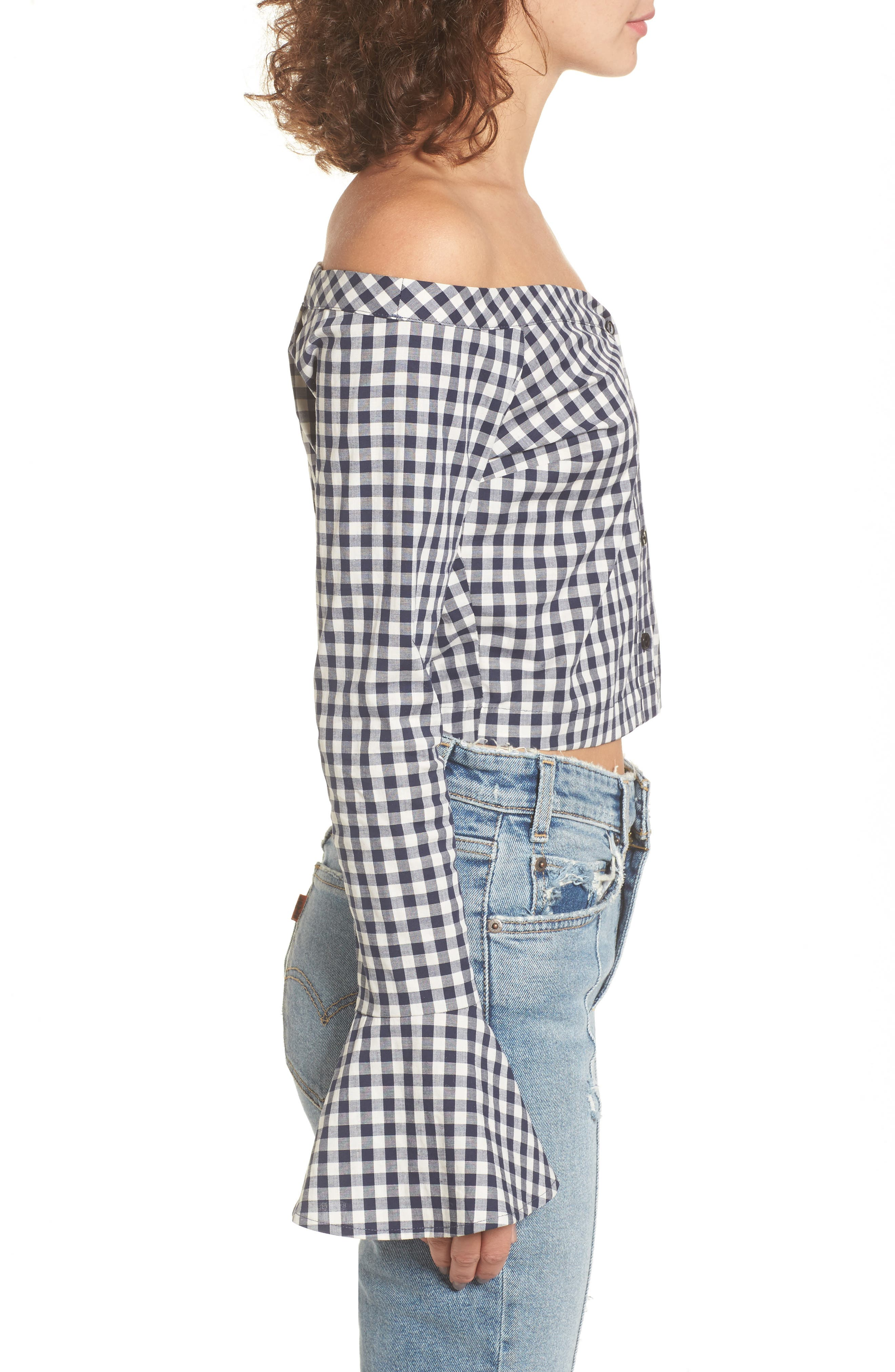 Bell Sleeve Off the Shoulder Crop Top,                             Alternate thumbnail 3, color,                             Navy/ White Gingham