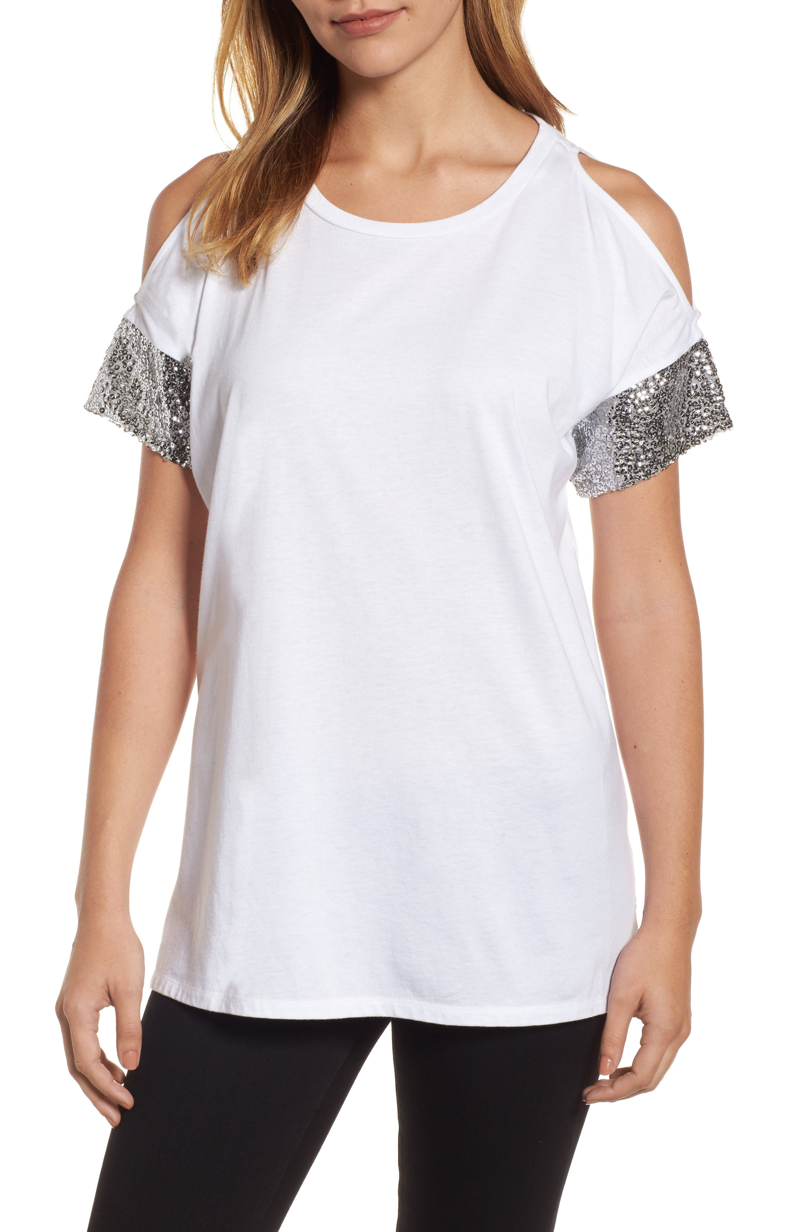 Sequin Sleeve Cold Shoulder Top,                             Main thumbnail 1, color,                             White