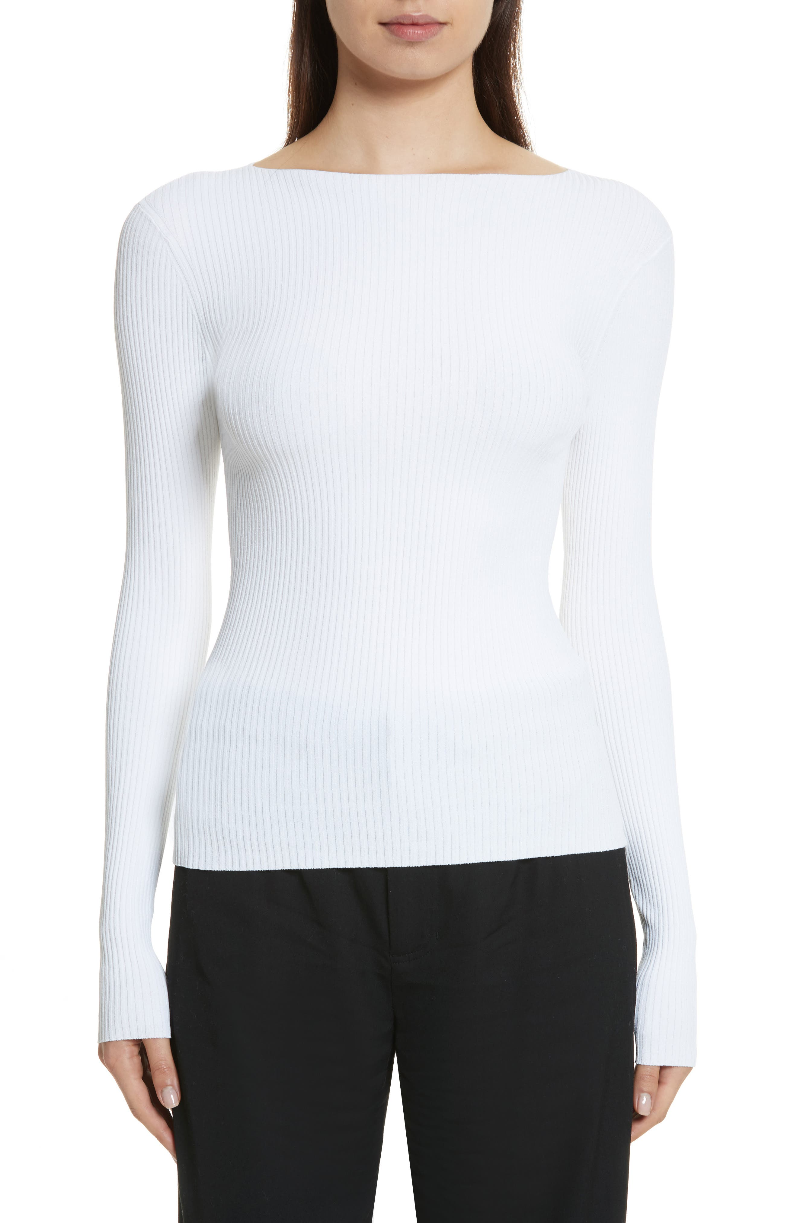 Vince Boat Neck Ribbed Top