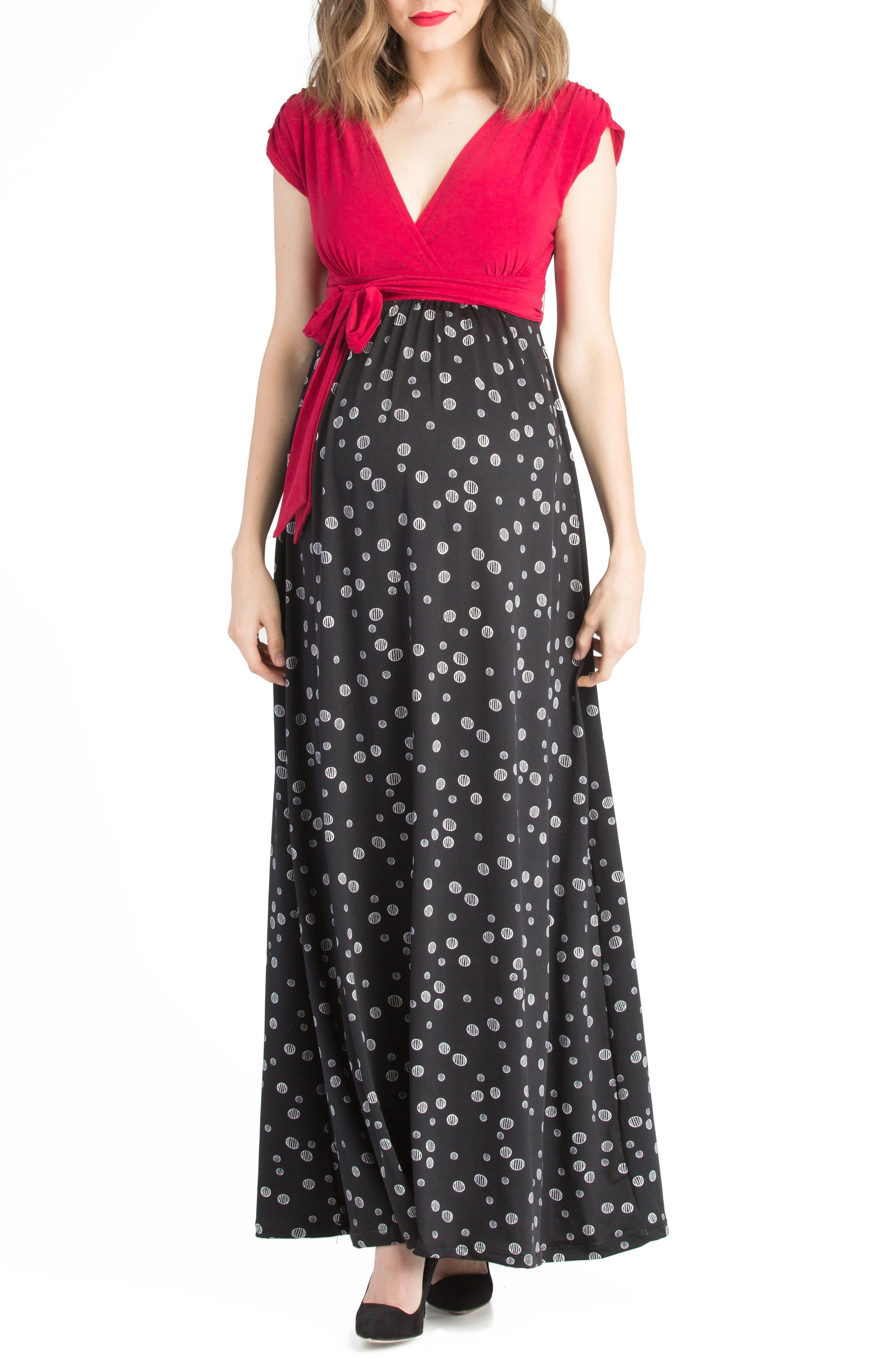 Colorblock Nursing Maxi Dress,                         Main,                         color, Black/ Fuschia