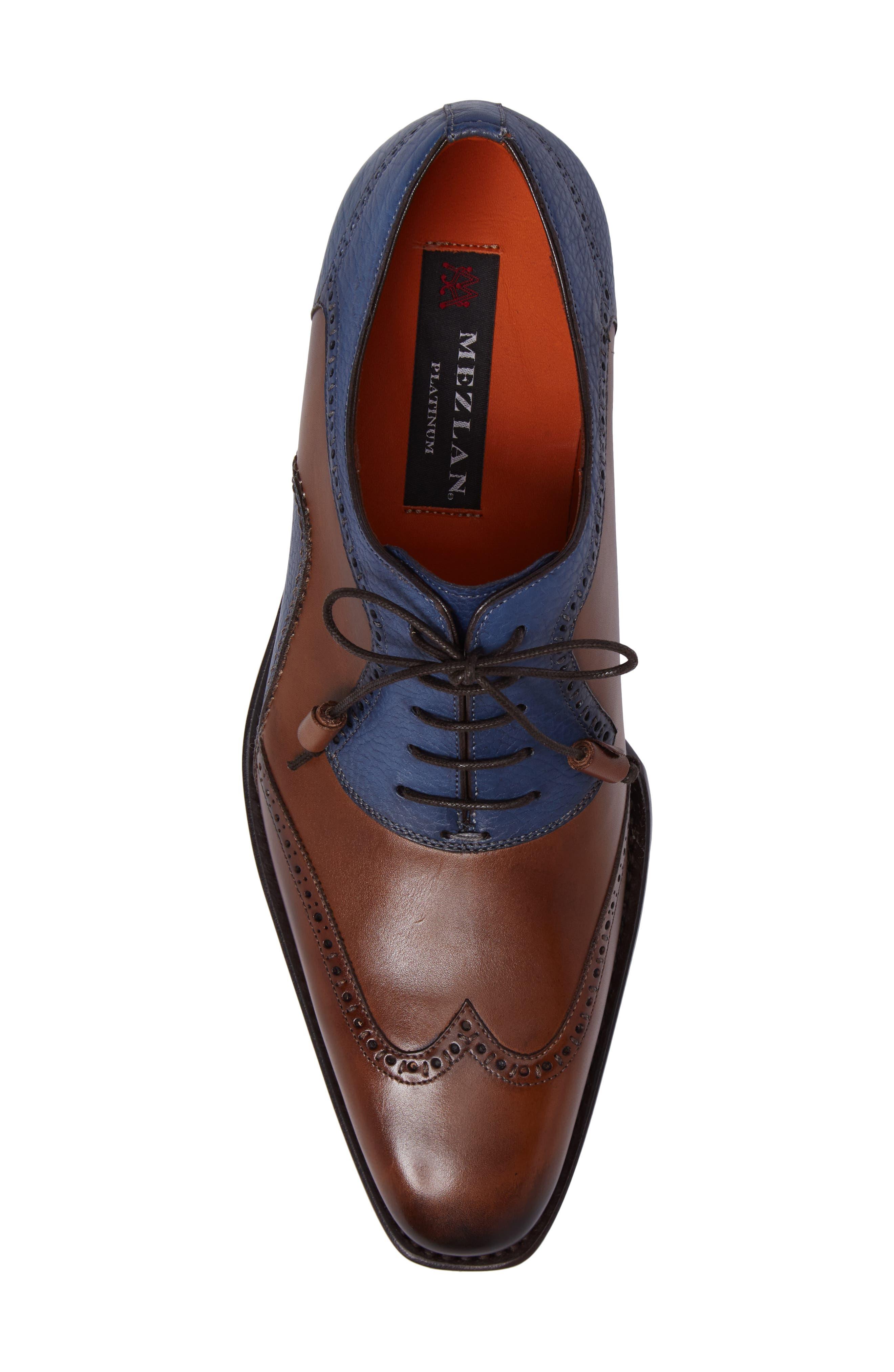 Conil Wingtip,                             Alternate thumbnail 5, color,                             Cognac/ Blue Leather