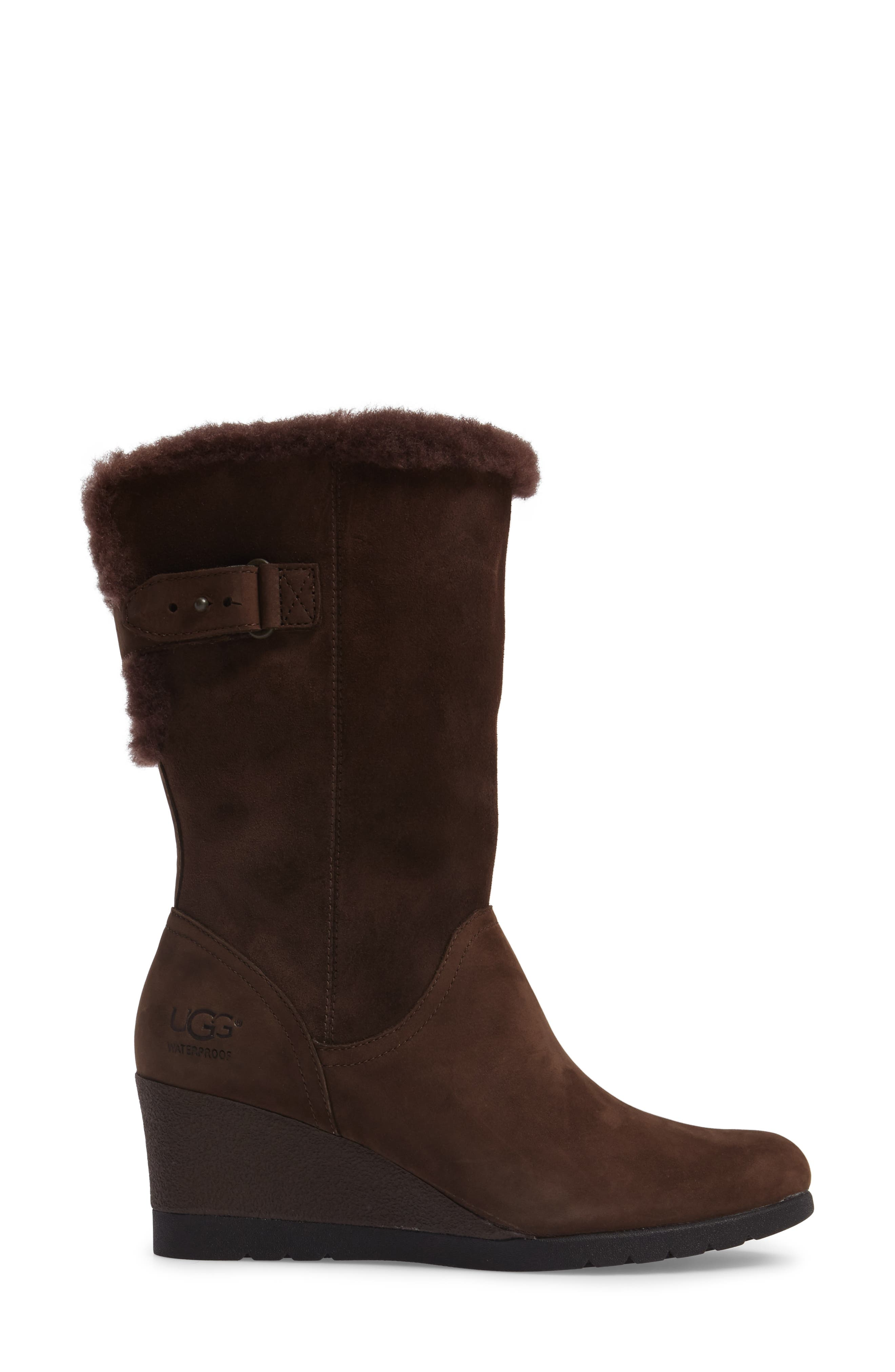 Edelina Waterproof Wedge Boot,                             Alternate thumbnail 3, color,                             Grizzly Leather