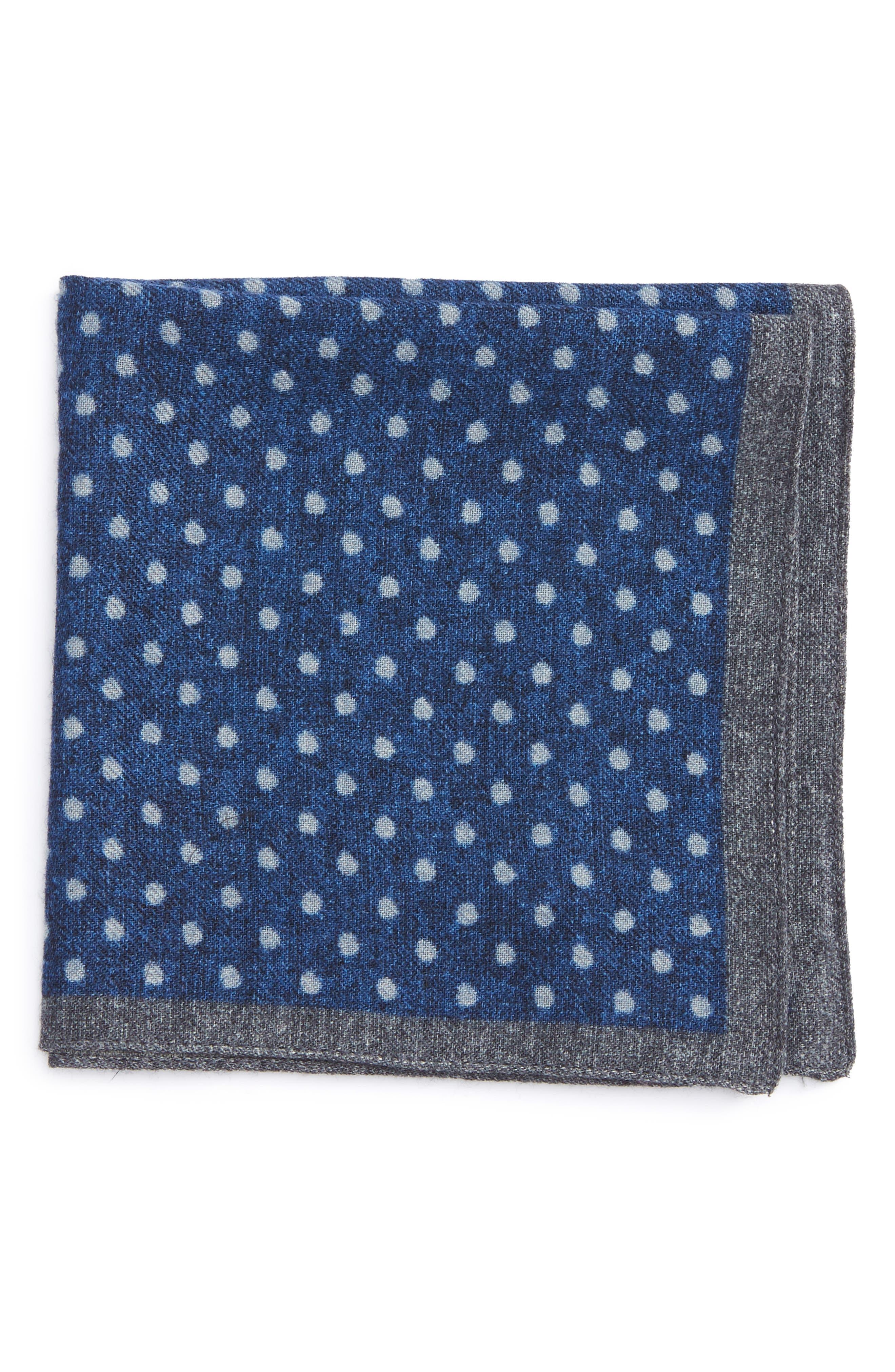 Dot Wool Pocket Square,                         Main,                         color, Blue