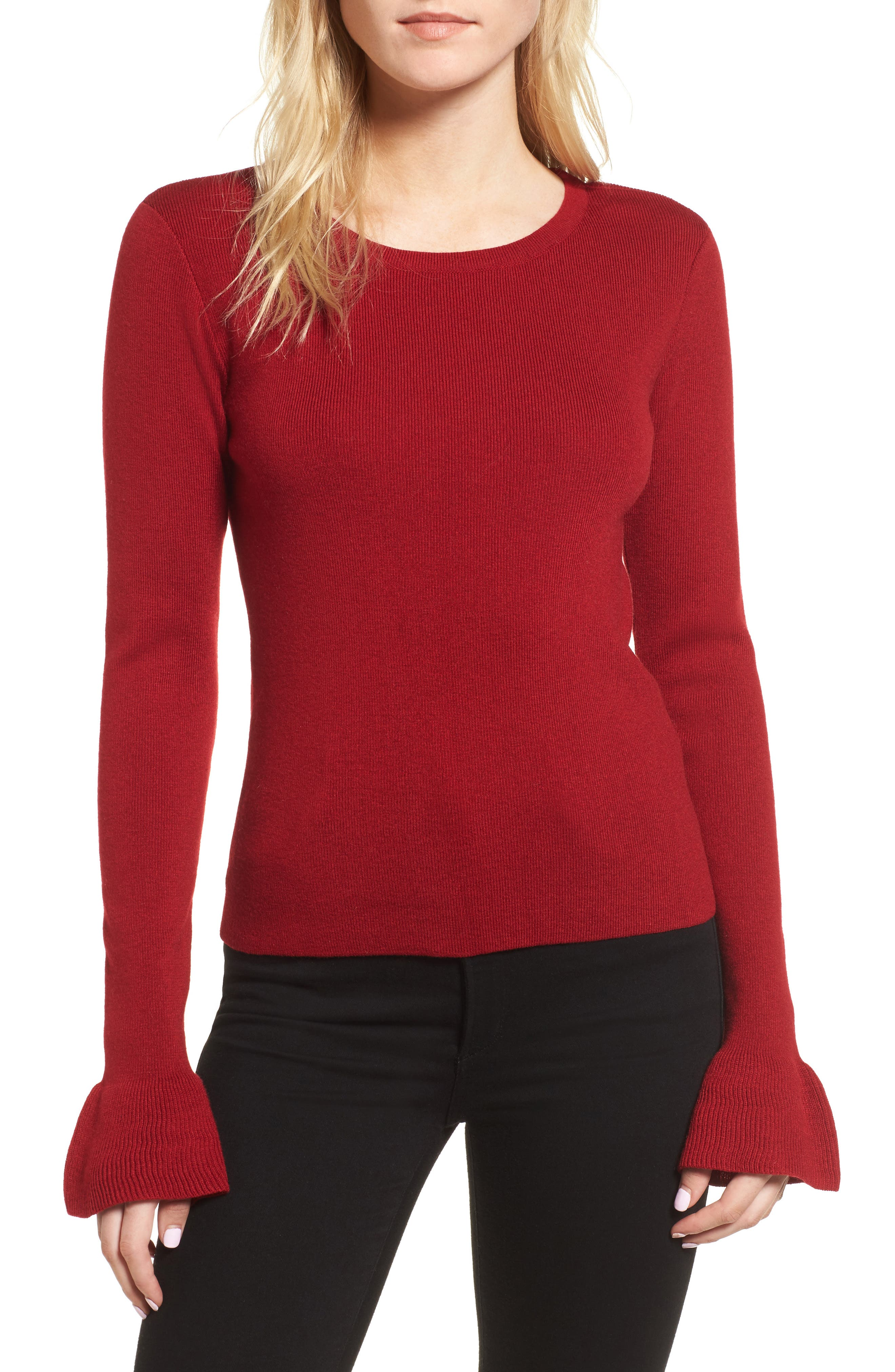 Tina Ruffle Cuff Sweater,                         Main,                         color, Crimson