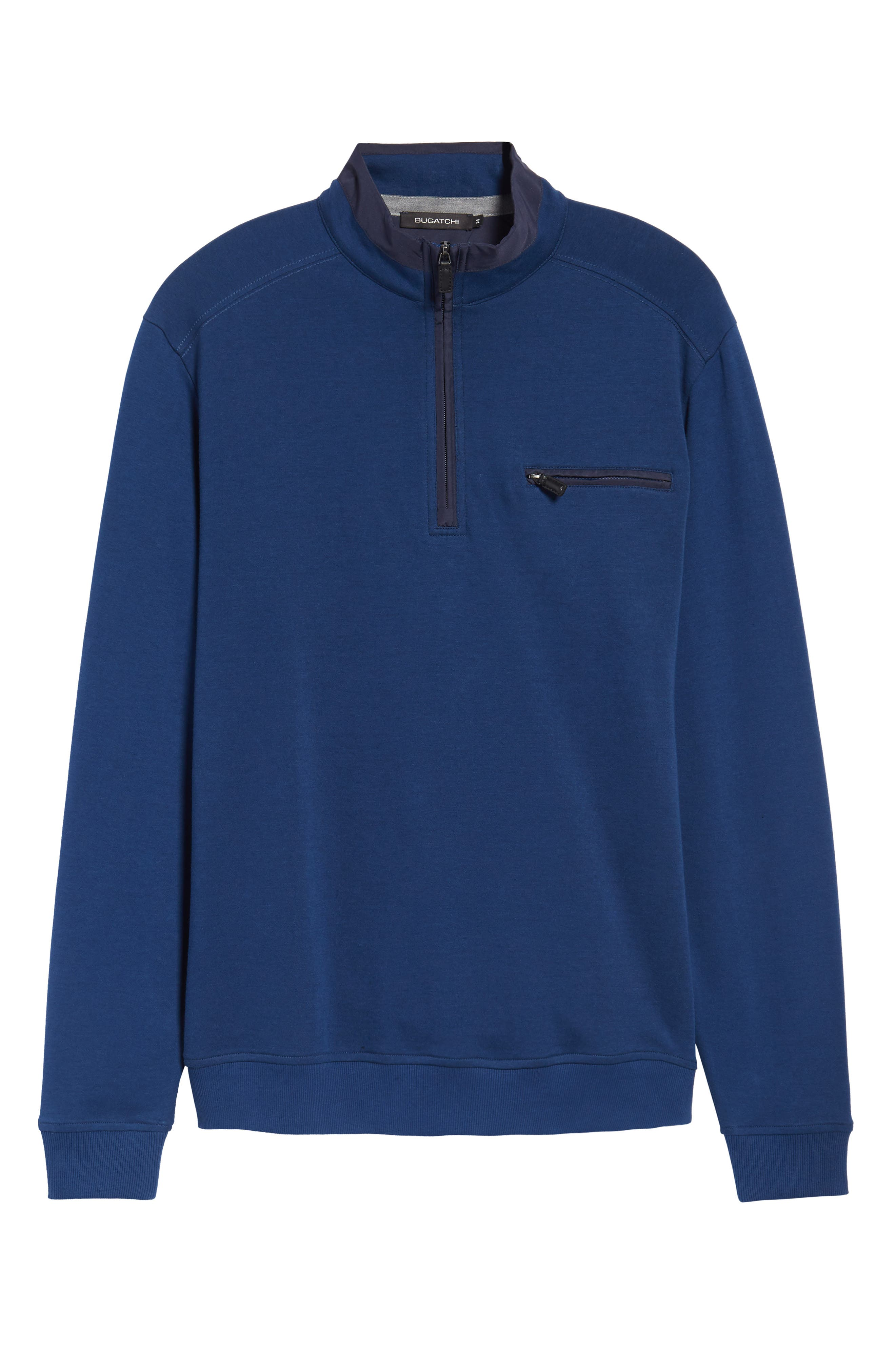 Classic Fit Solid Quarter Zip Pullover,                             Alternate thumbnail 6, color,                             Navy