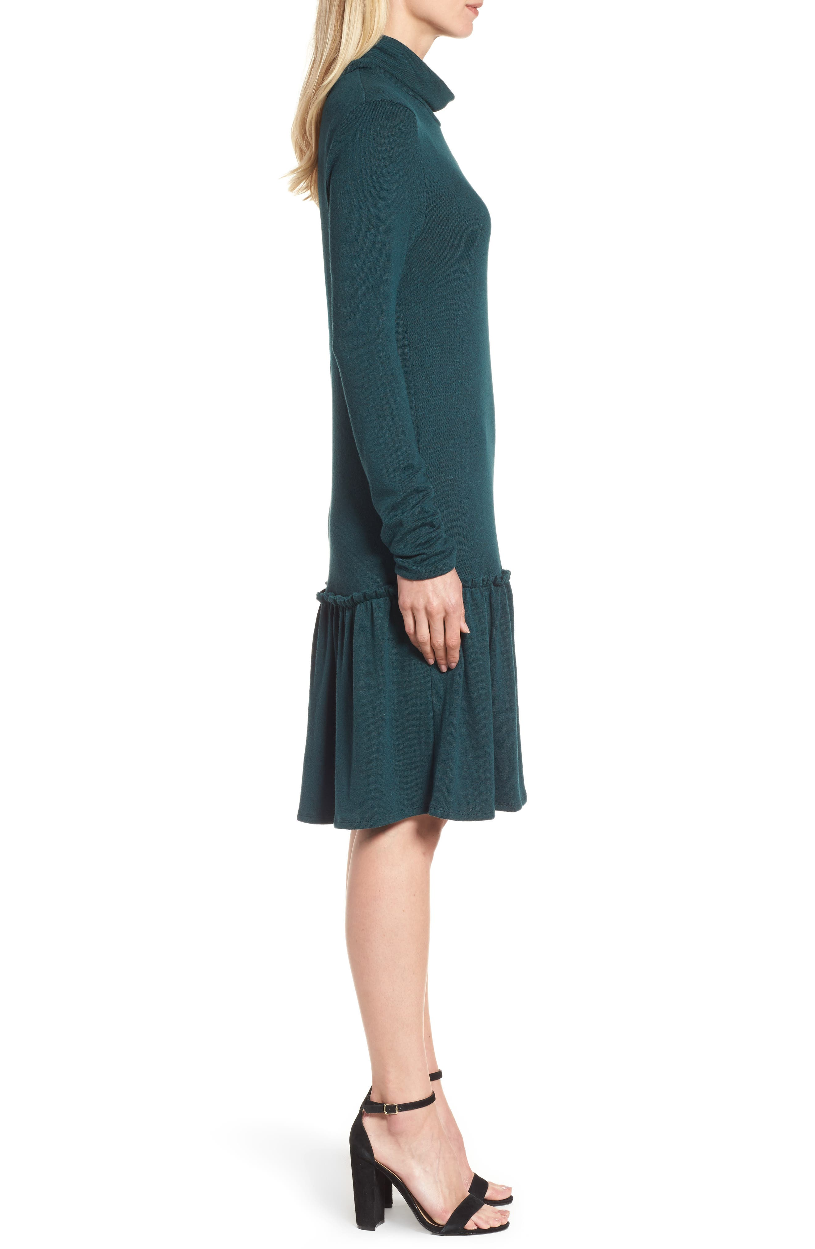 Alternate Image 3  - Halogen® Ruffle Hem Turtleneck Dress