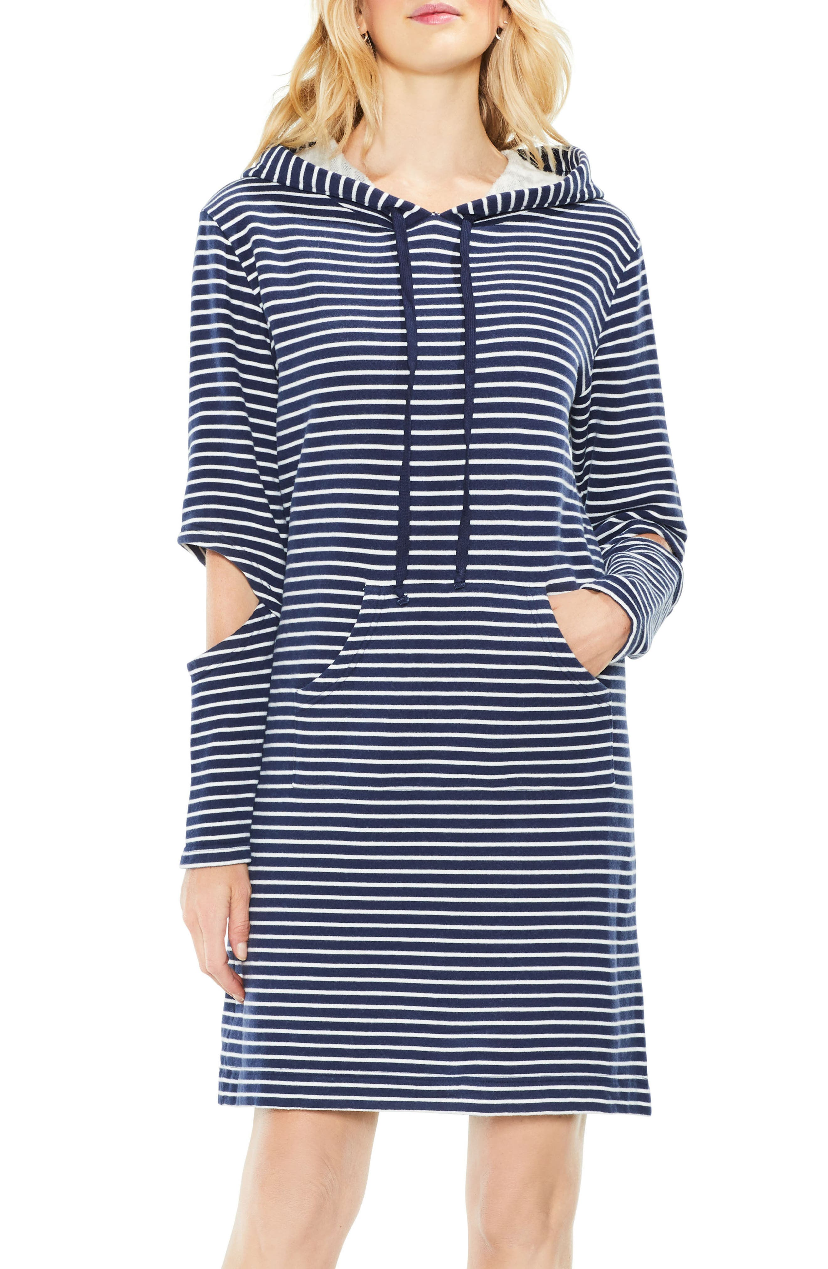 Main Image - Two by Vince Camuto Daydream Stripe Hooded Dress