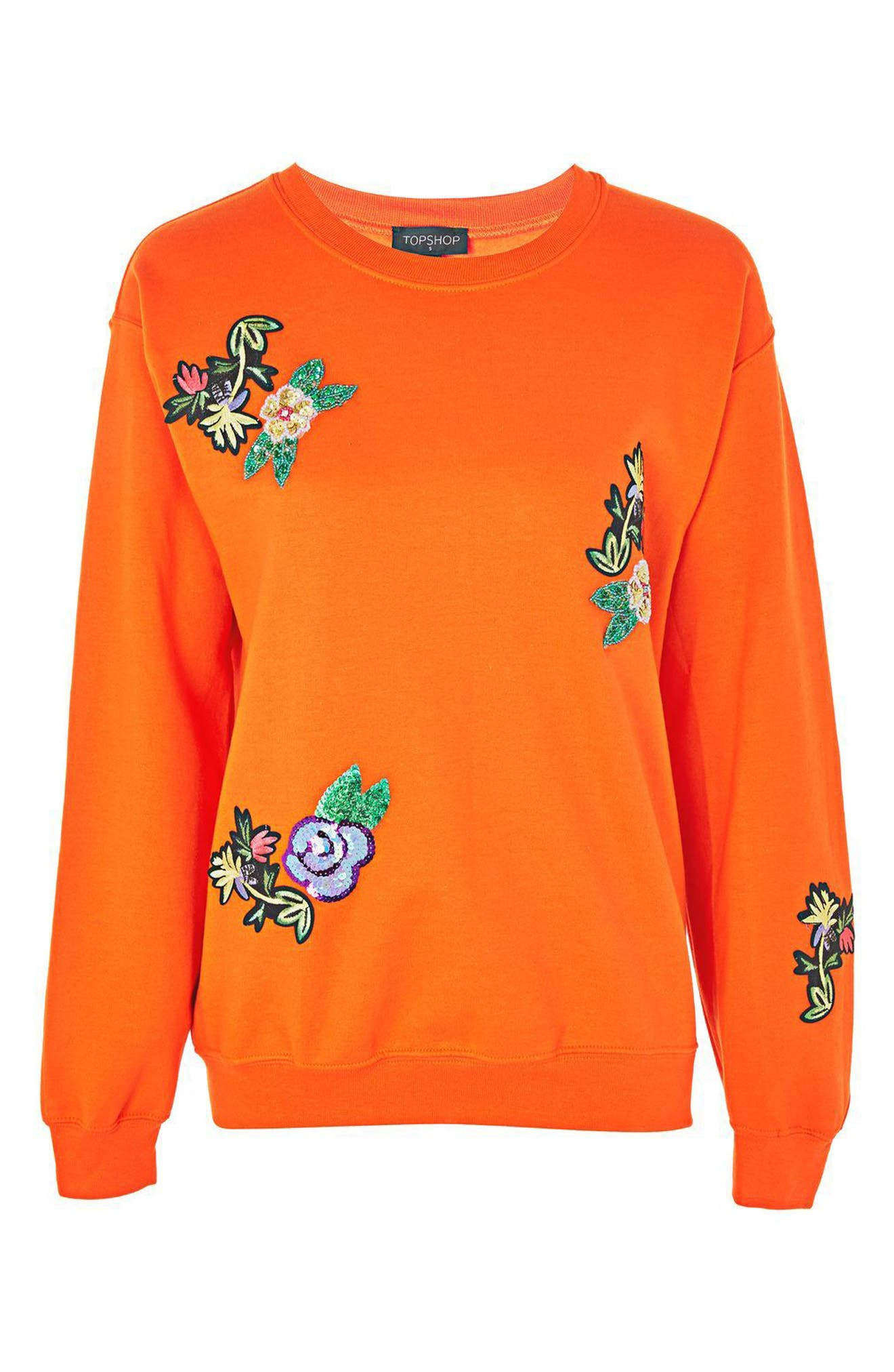 Floral Appliqué Embroidered Sweatshirt,                             Alternate thumbnail 3, color,                             Orange Multi