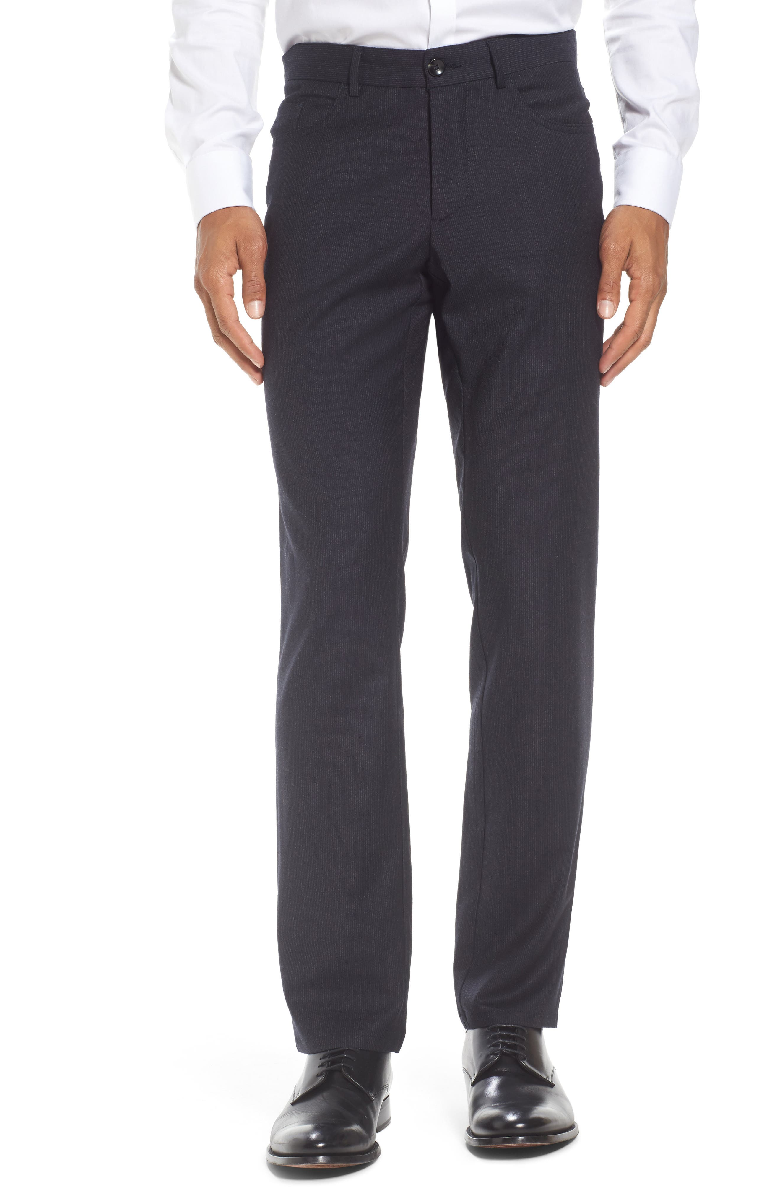 Flat Front Stripe Stretch Wool Trousers,                         Main,                         color, Mid Grey
