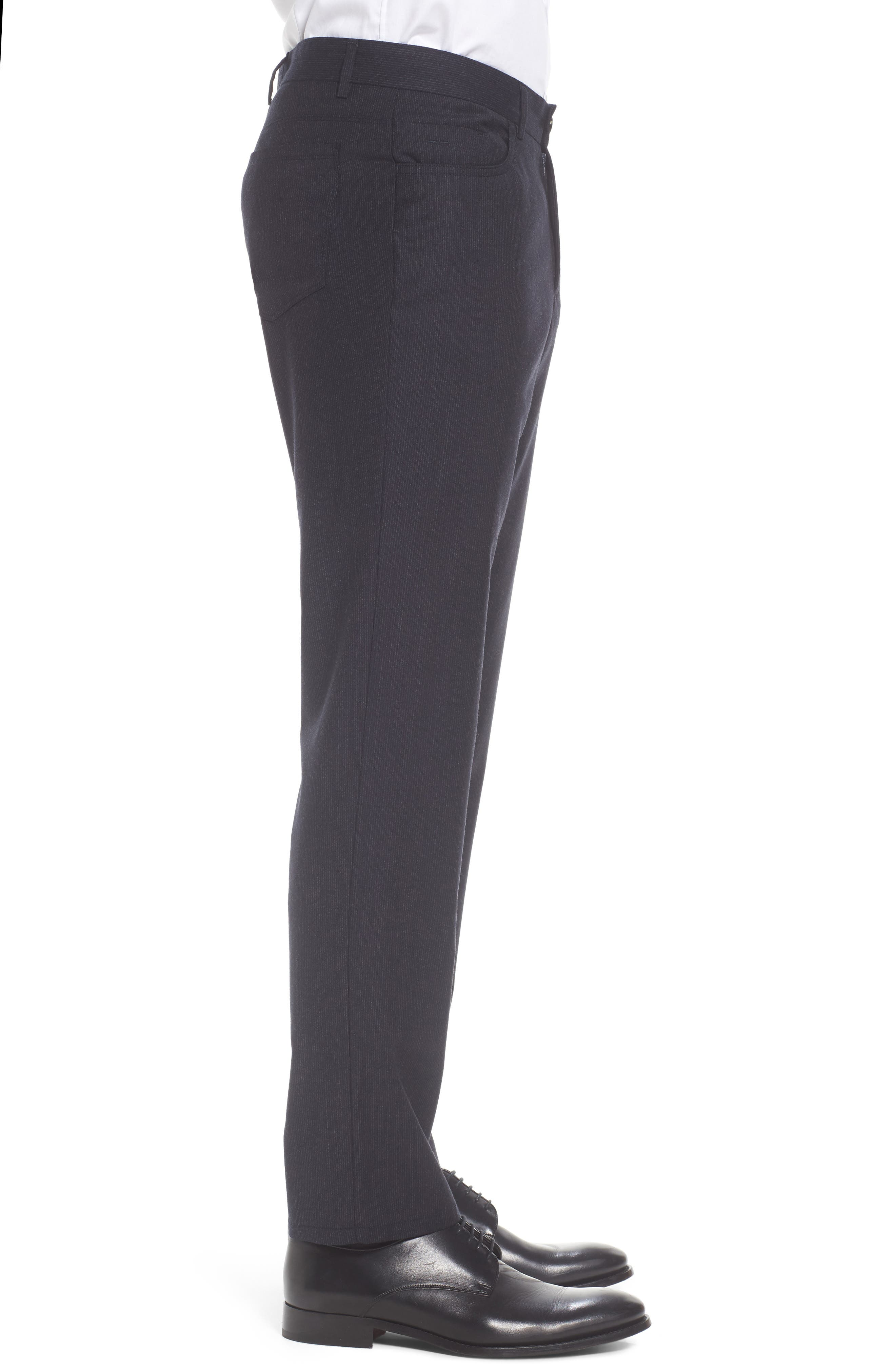 Flat Front Stripe Stretch Wool Trousers,                             Alternate thumbnail 4, color,                             Mid Grey