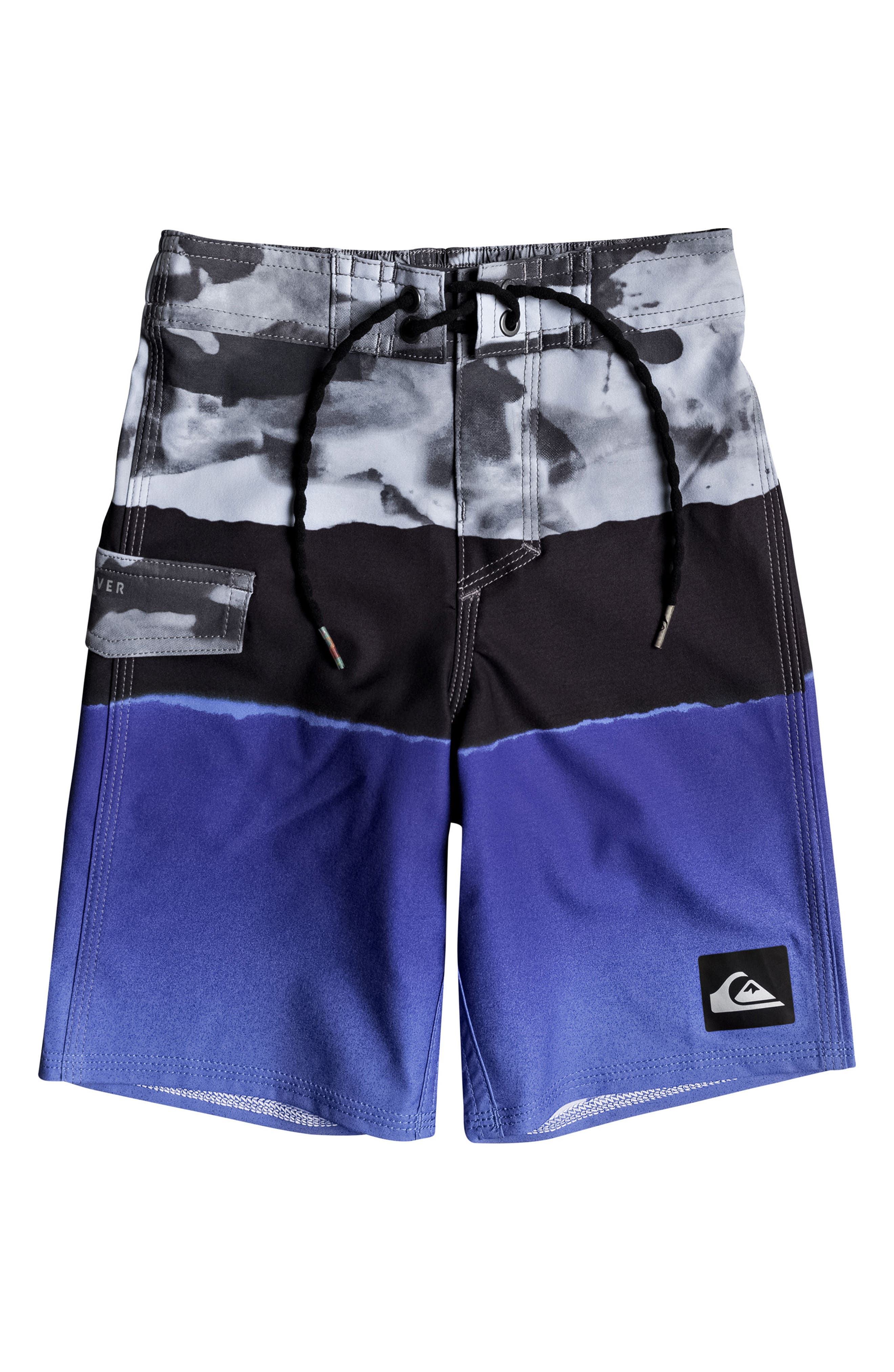 Blocked Resin Camo Board Shorts,                         Main,                         color, Electric Blue