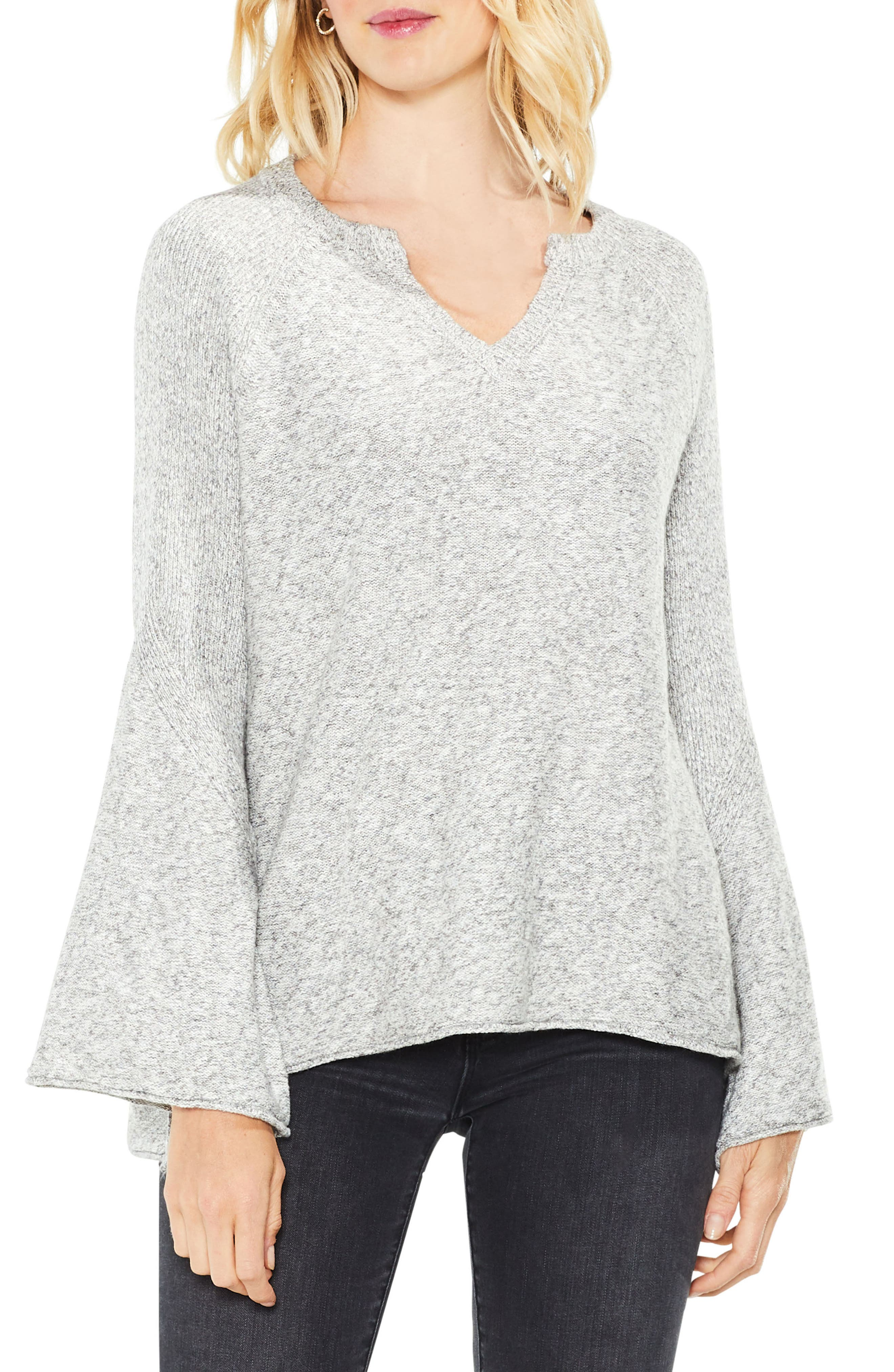 Bell Sleeve Ribbed Sweater,                         Main,                         color, Light Heather Grey