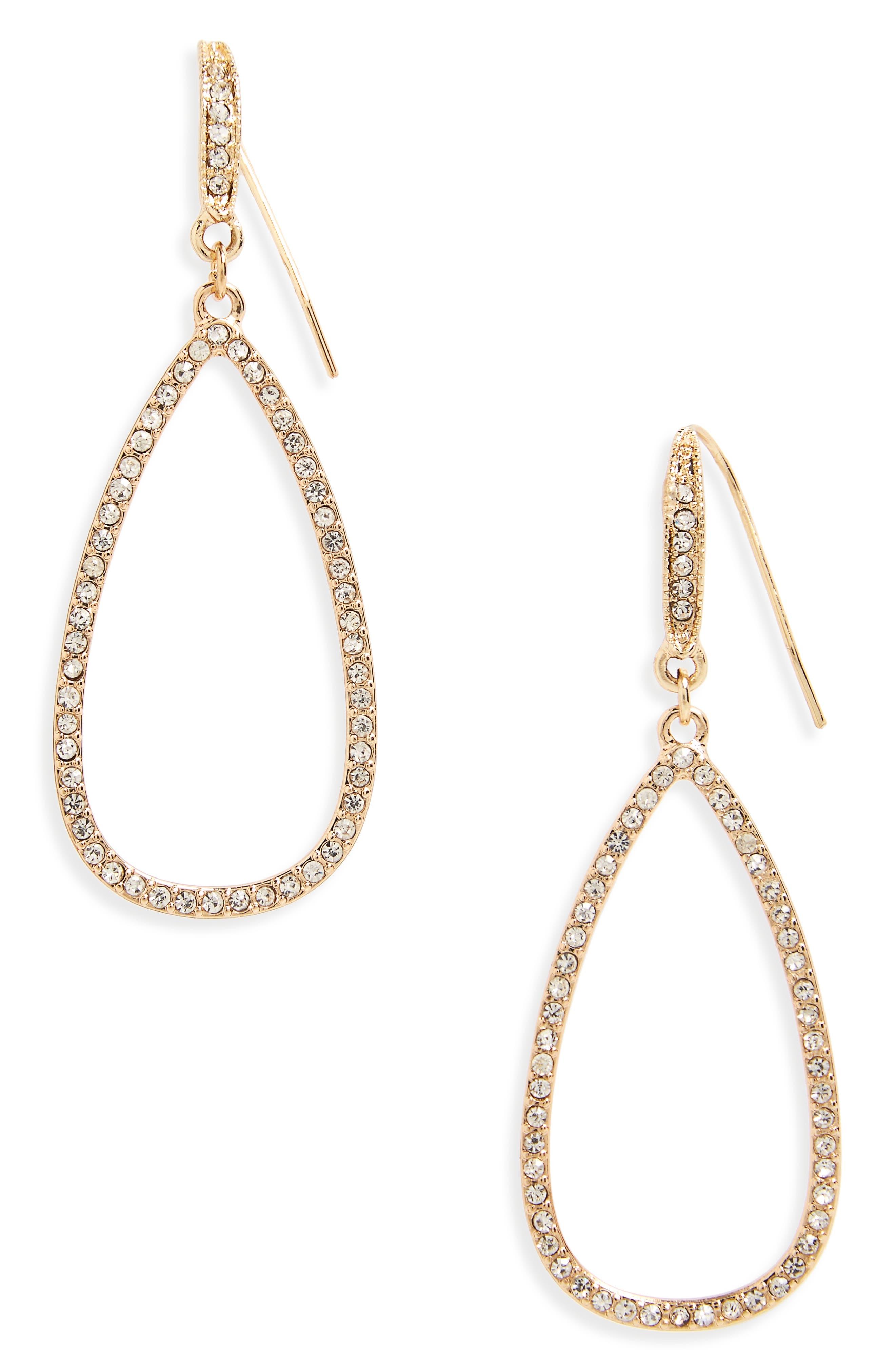 Crystal Teardrop Earrings,                         Main,                         color, Gold