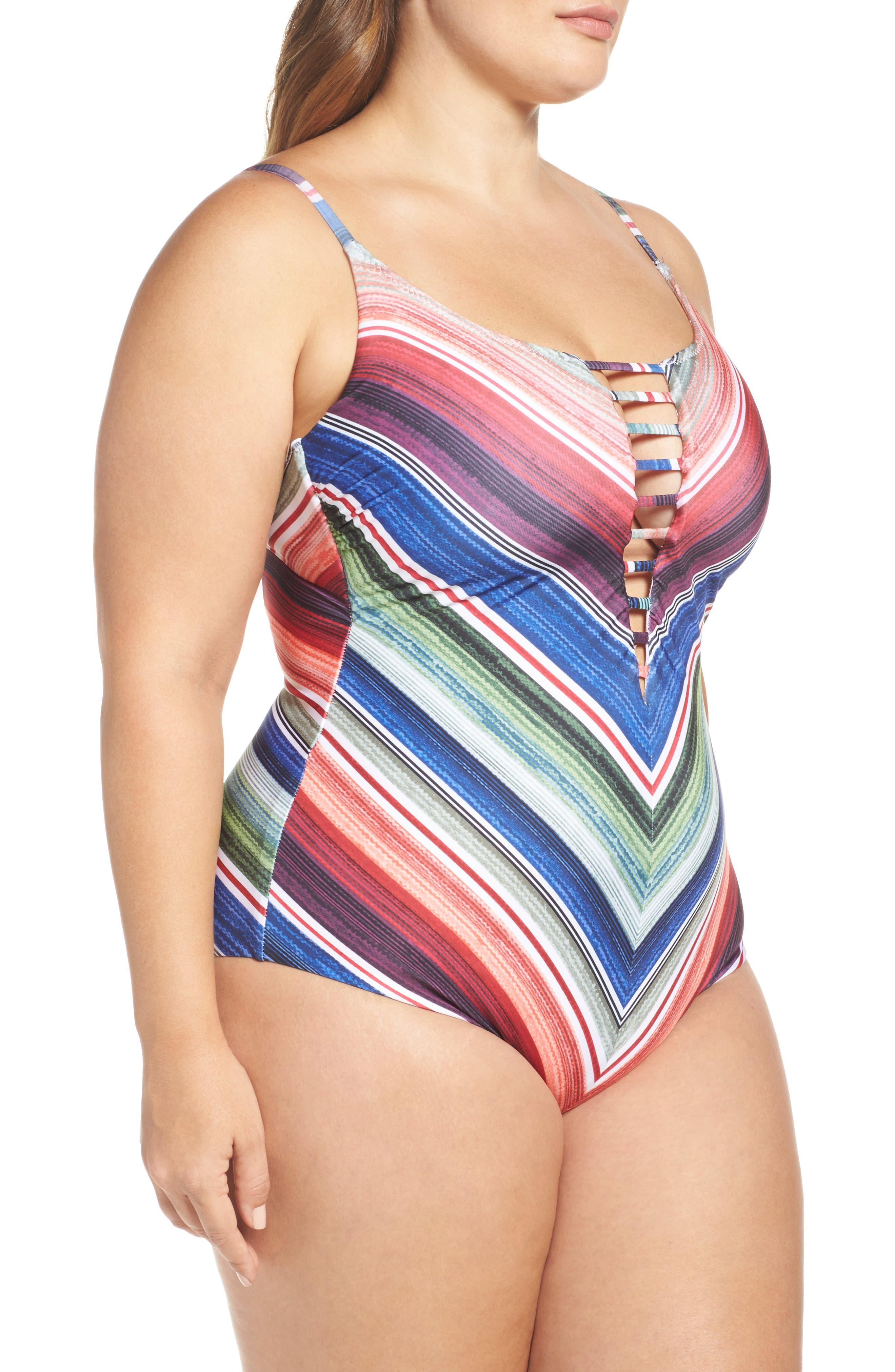 West Village One-Piece Swimsuit,                             Alternate thumbnail 3, color,                             Blue Multi