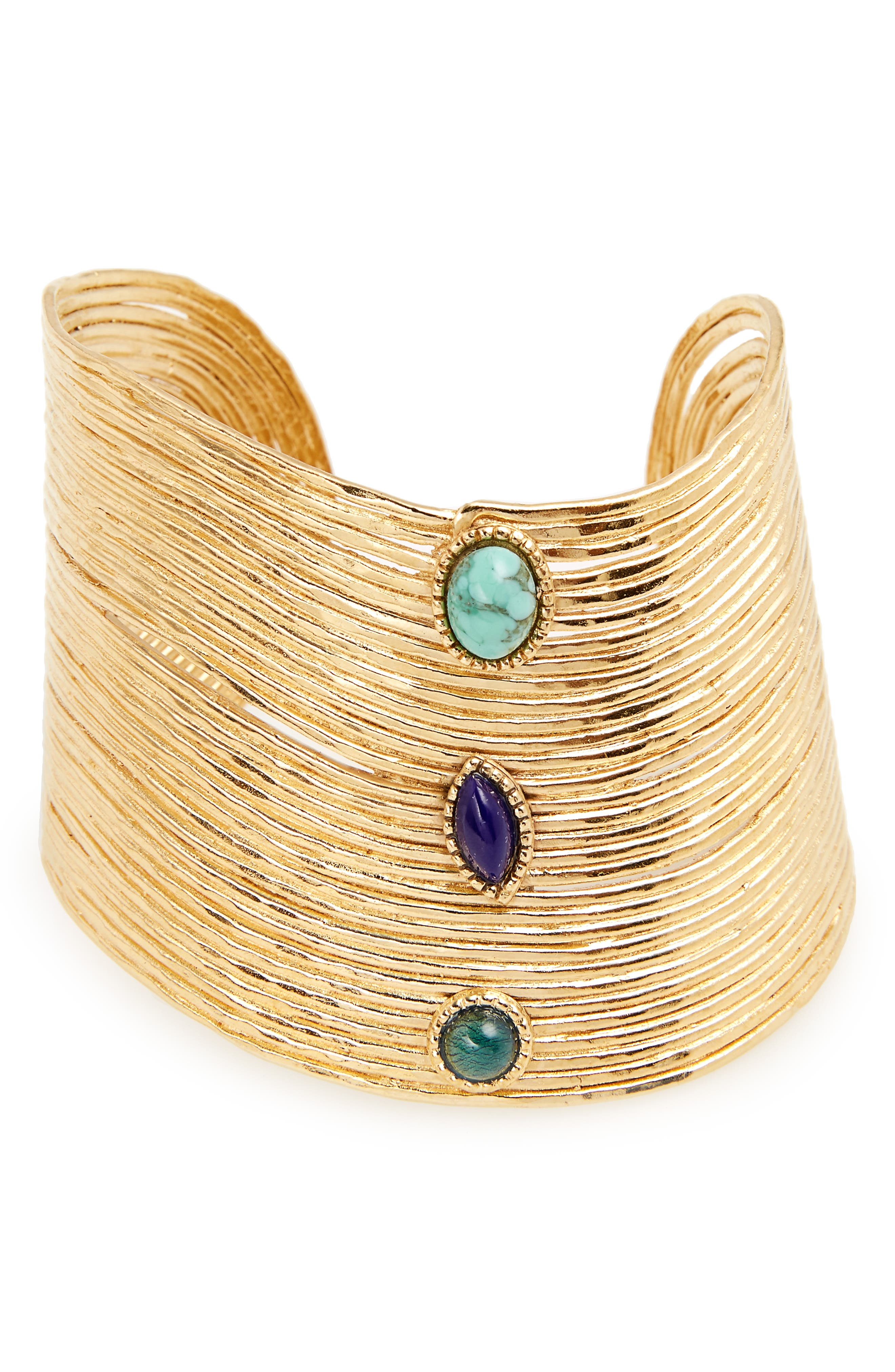 Cabochon Cuff,                         Main,                         color, Blue Turquoise/ Gold