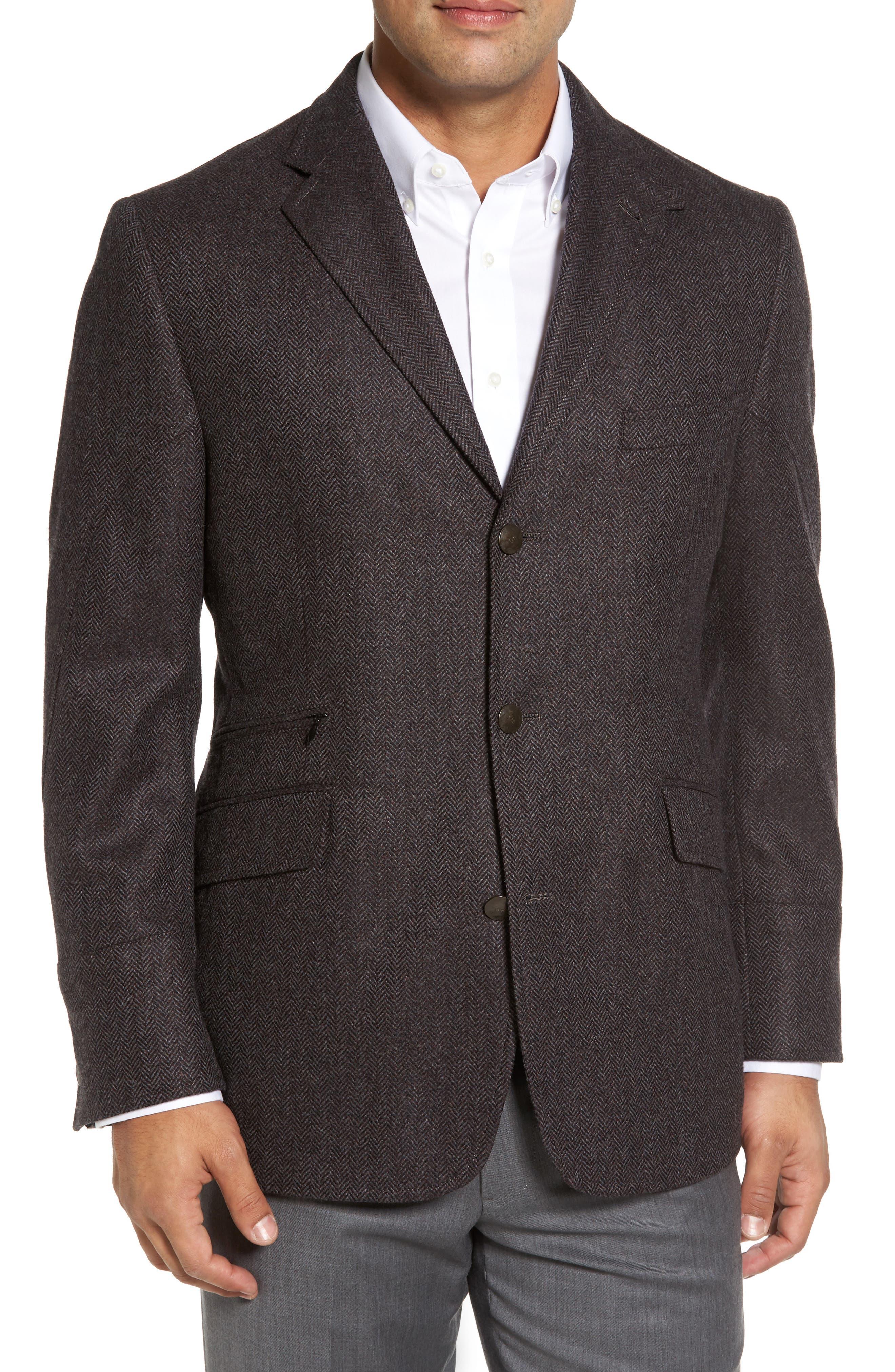 Ritchie Hybrid Classic Fit Wool & Cashmere Herringbone Sport Coat,                             Alternate thumbnail 3, color,                             Grey