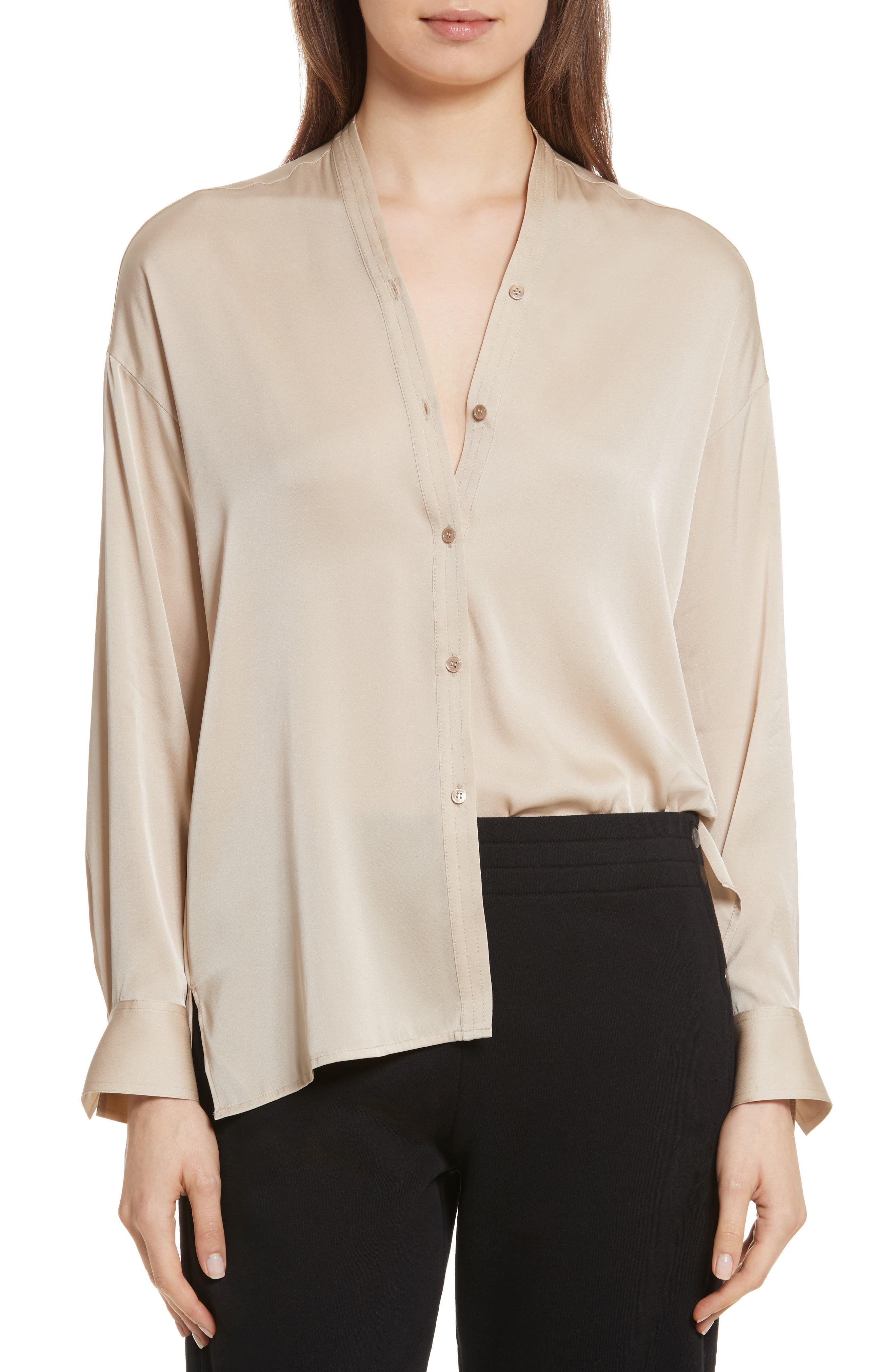 Alternate Image 1 Selected - Vince Trapunto Stretch Silk Blouse