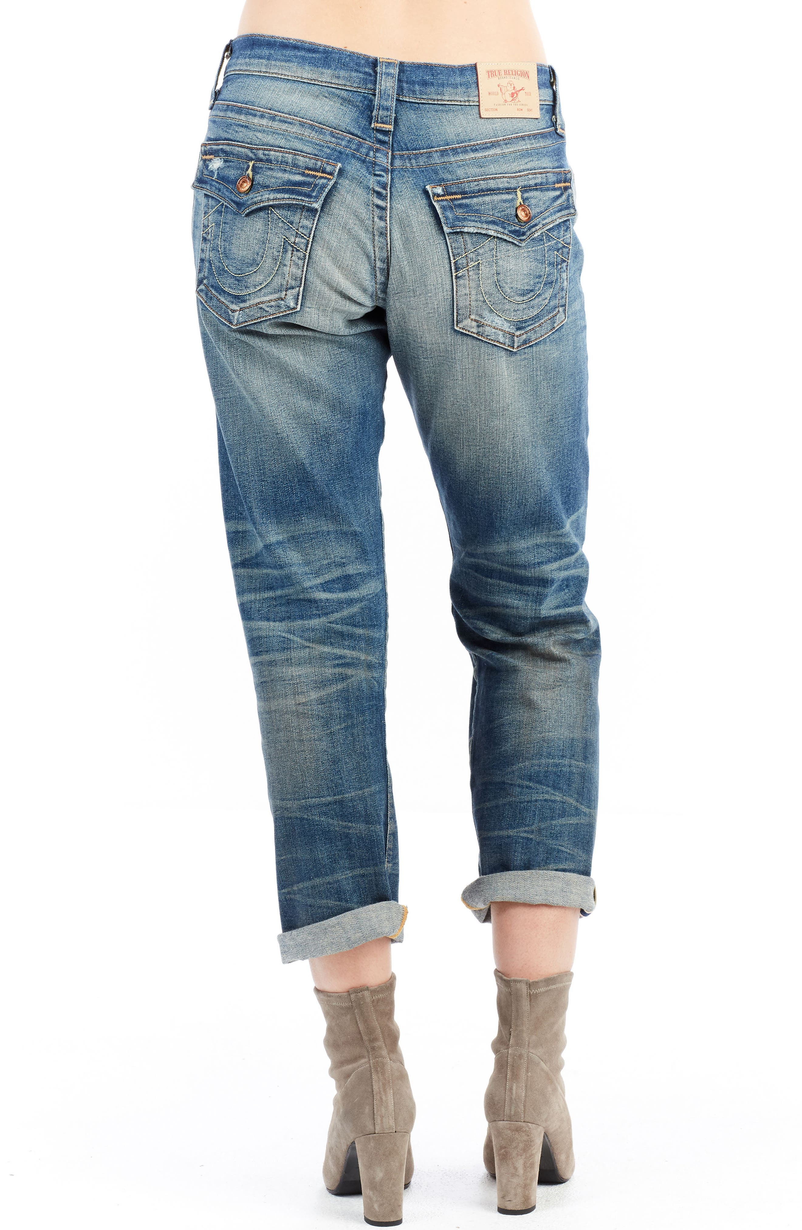 Cameron Slim Boyfriend Jeans,                             Alternate thumbnail 3, color,                             Indigo Legacy