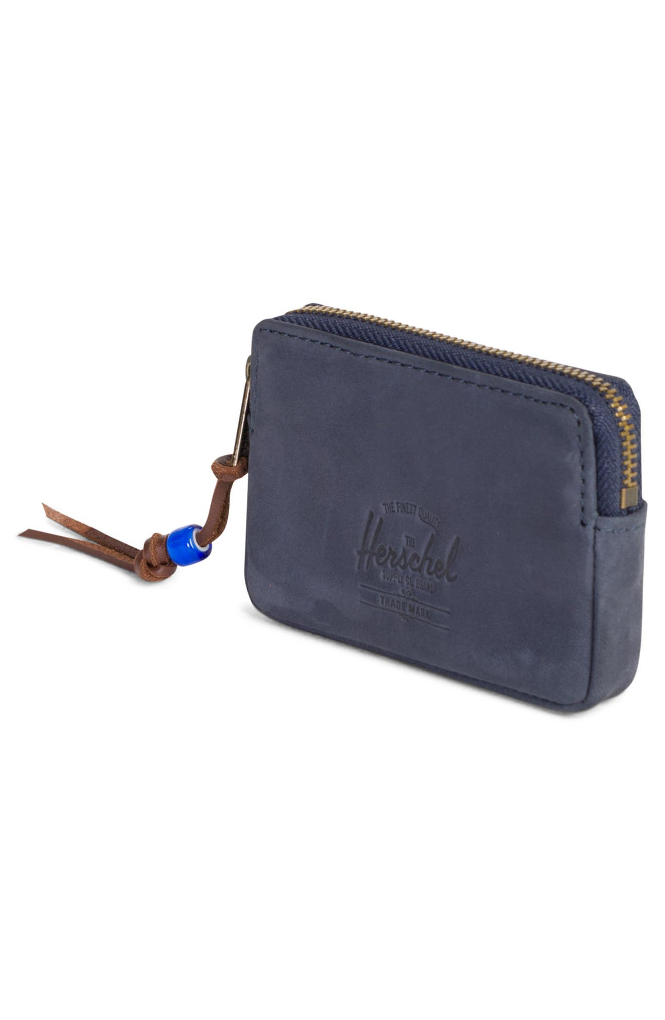 Oxford Zip Pouch,                             Alternate thumbnail 3, color,                             Peacoat Leather
