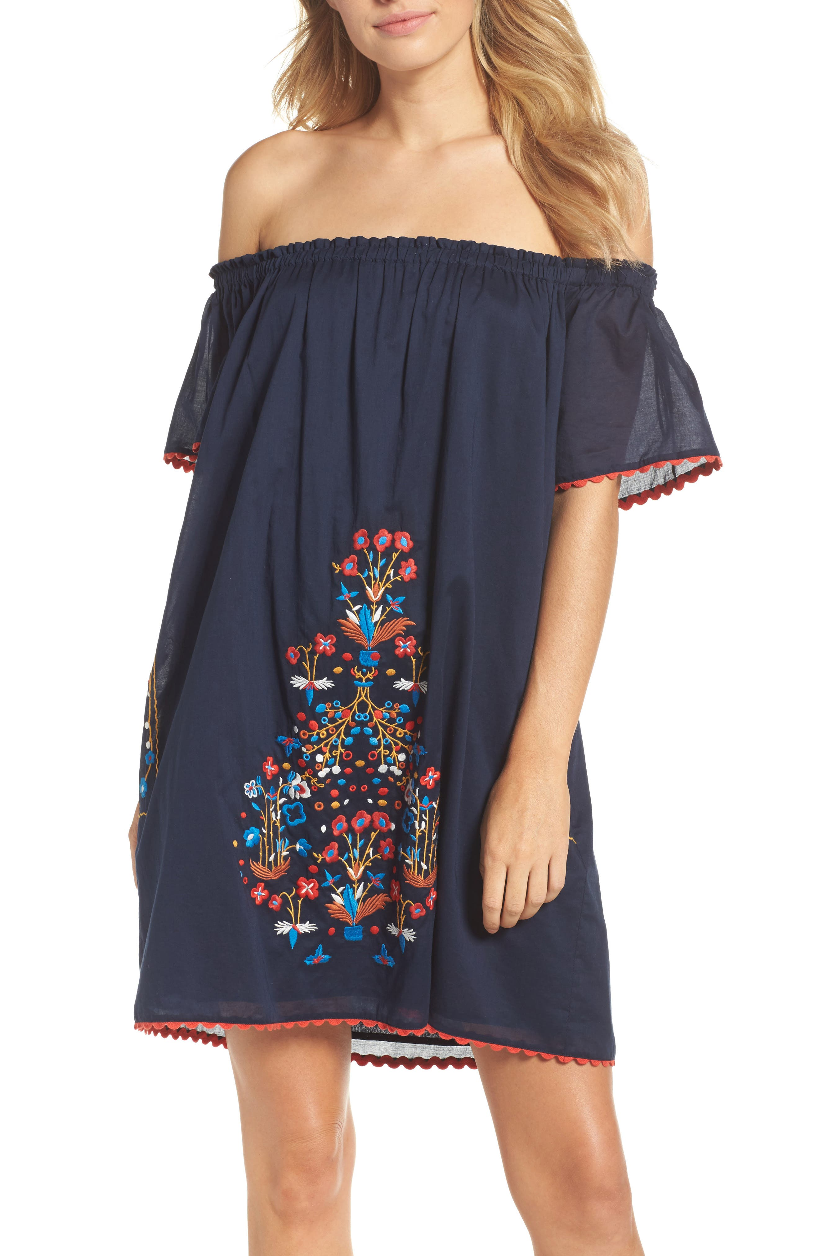 Wildflower Embroidered Off the Shoulder Cover-Up Dress,                         Main,                         color, Tory Navy