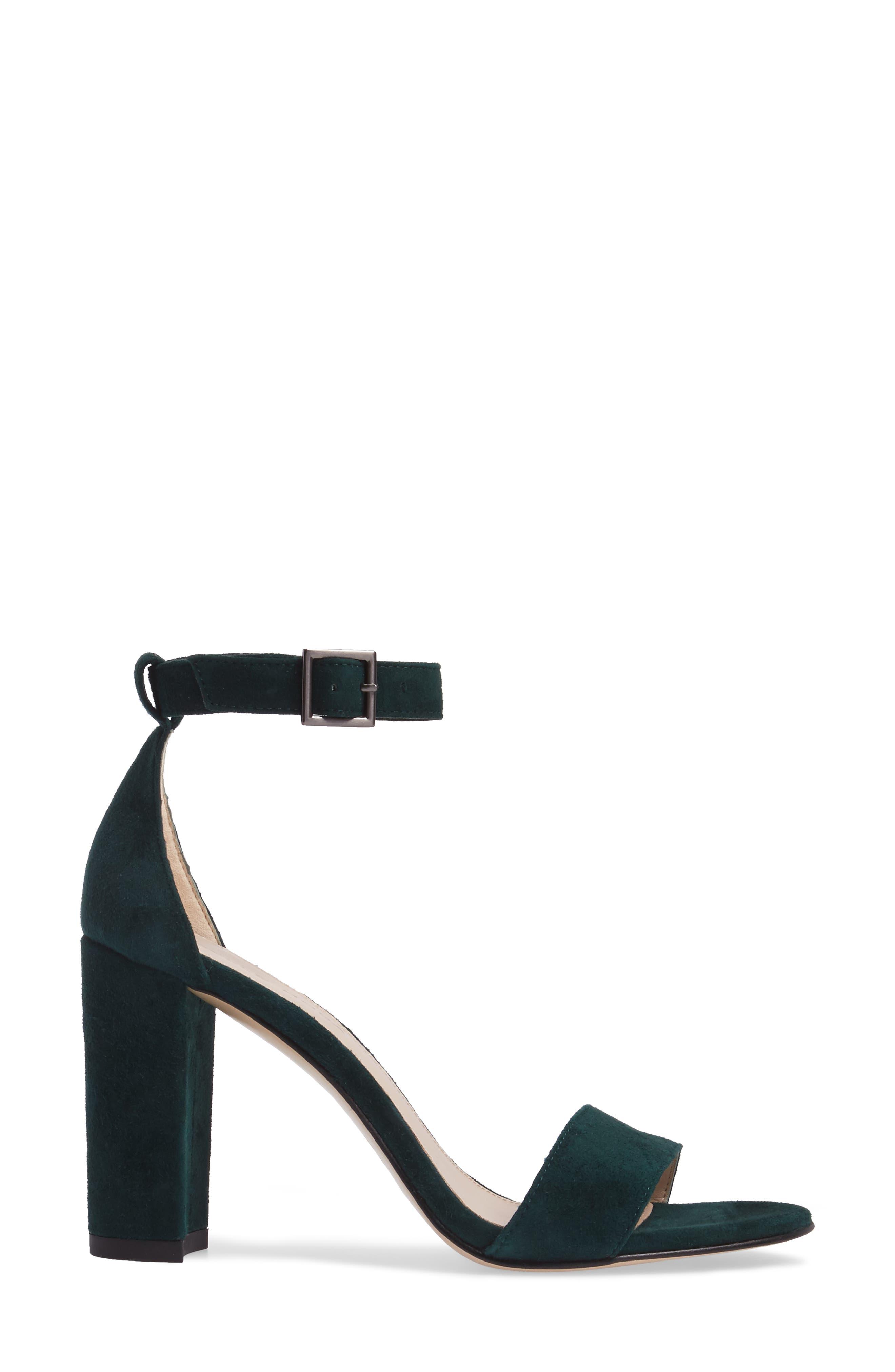 Bonnie Ankle Strap Sandal,                             Alternate thumbnail 3, color,                             Forest Leather