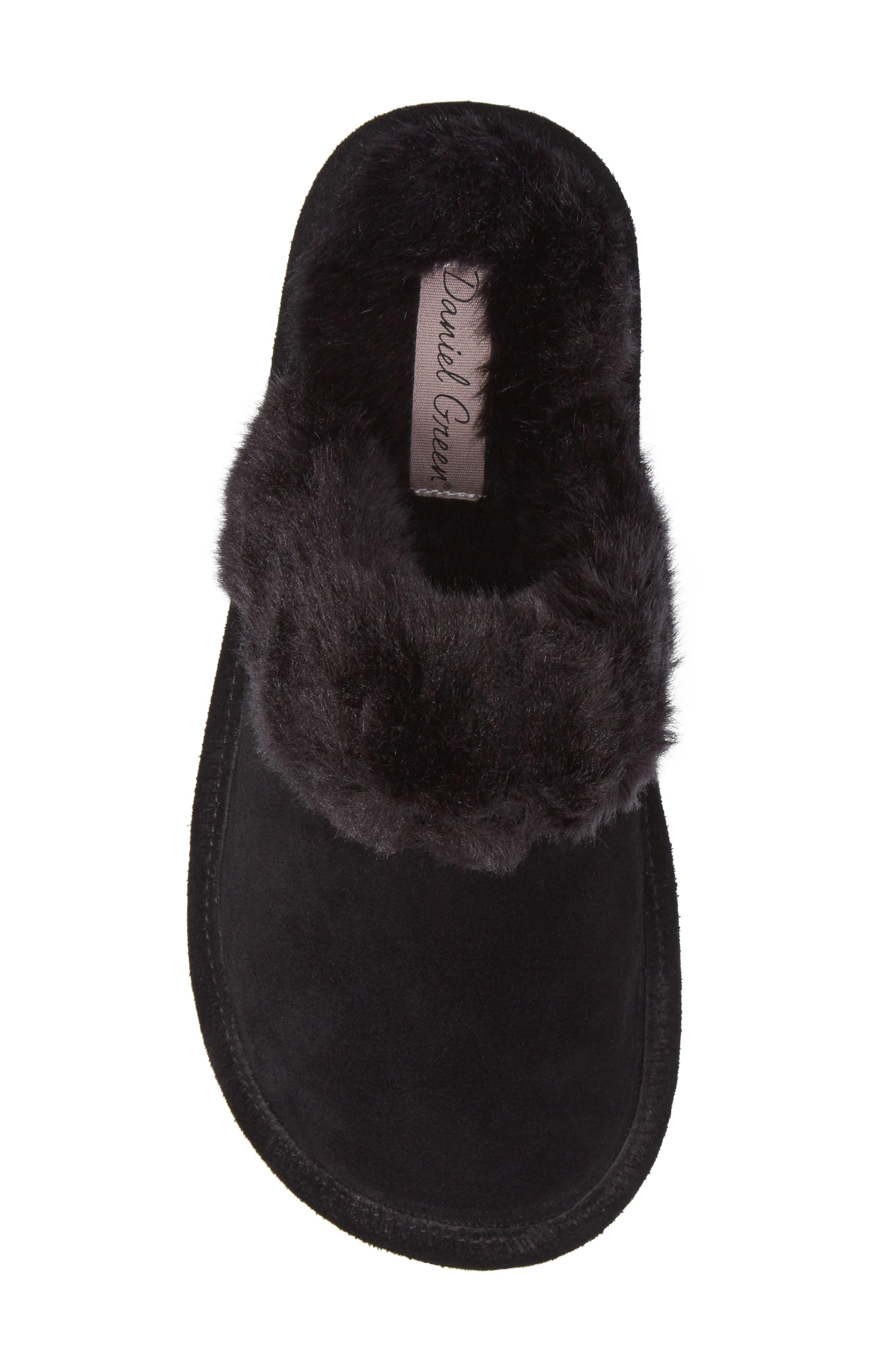 Pammy Faux Fur Slipper,                             Alternate thumbnail 5, color,                             Black Suede