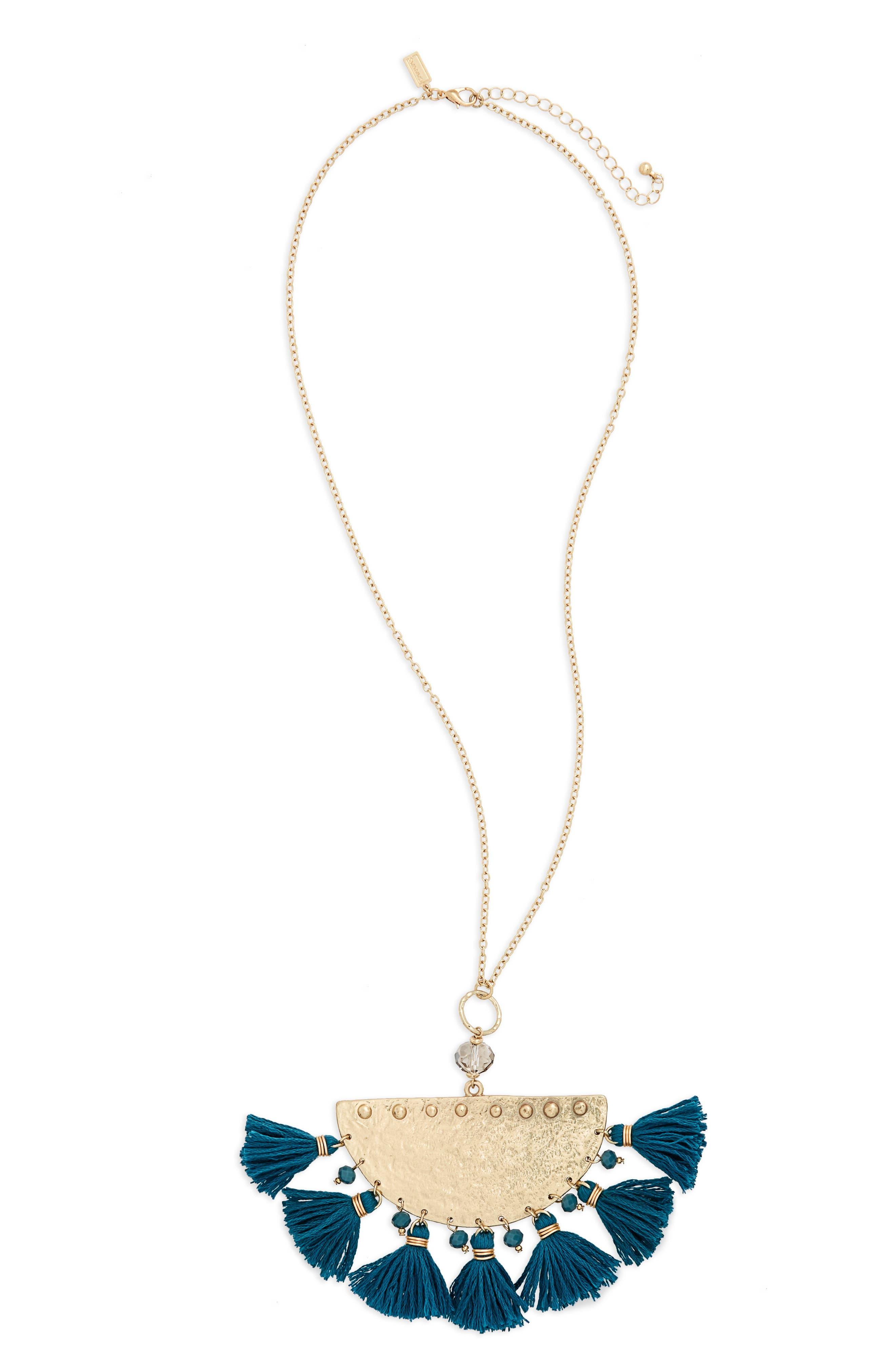 Canvas Moon Tassel Necklace