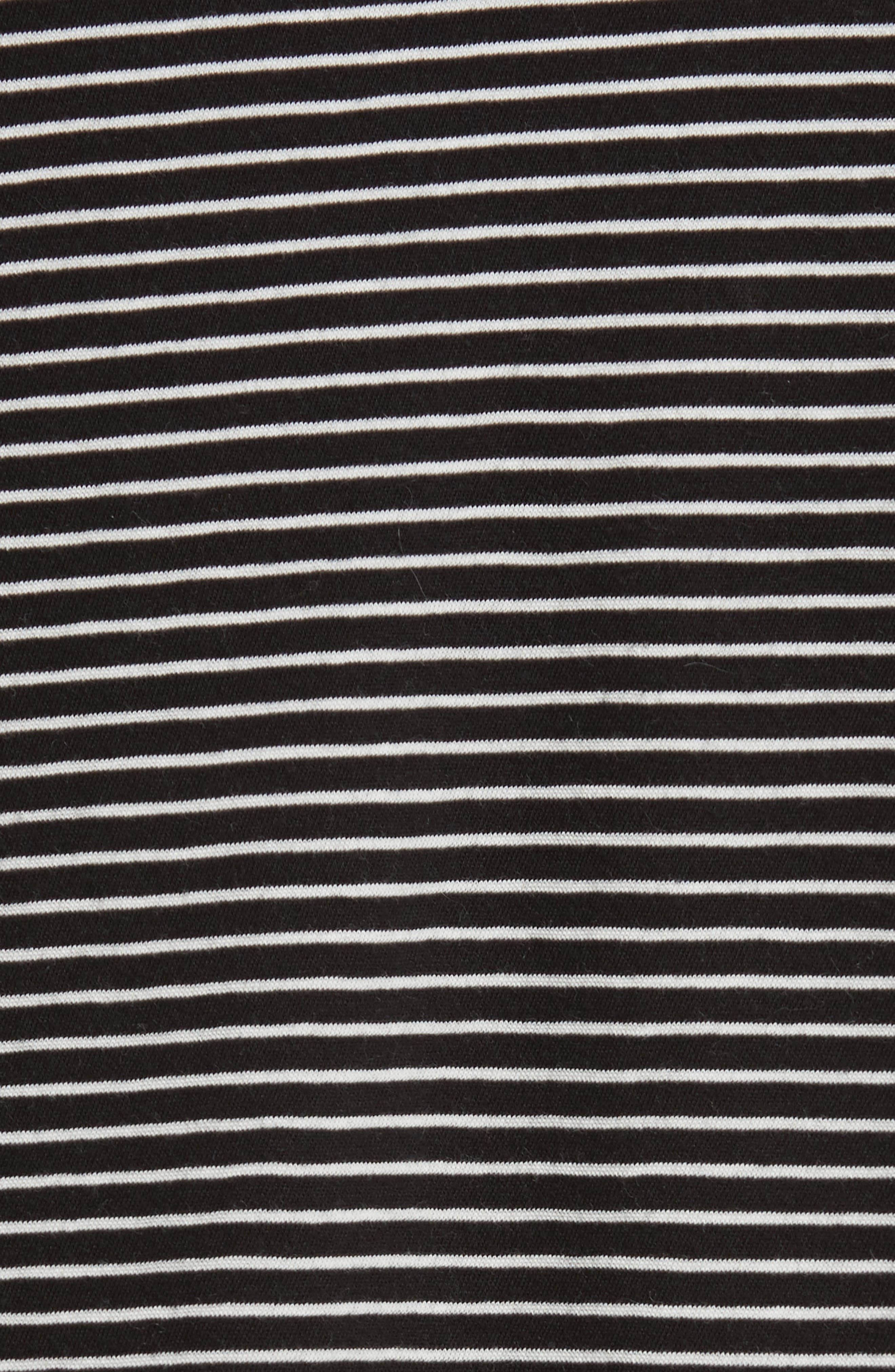 Stripe Boatneck Tee,                             Alternate thumbnail 5, color,                             Black/ Vanilla