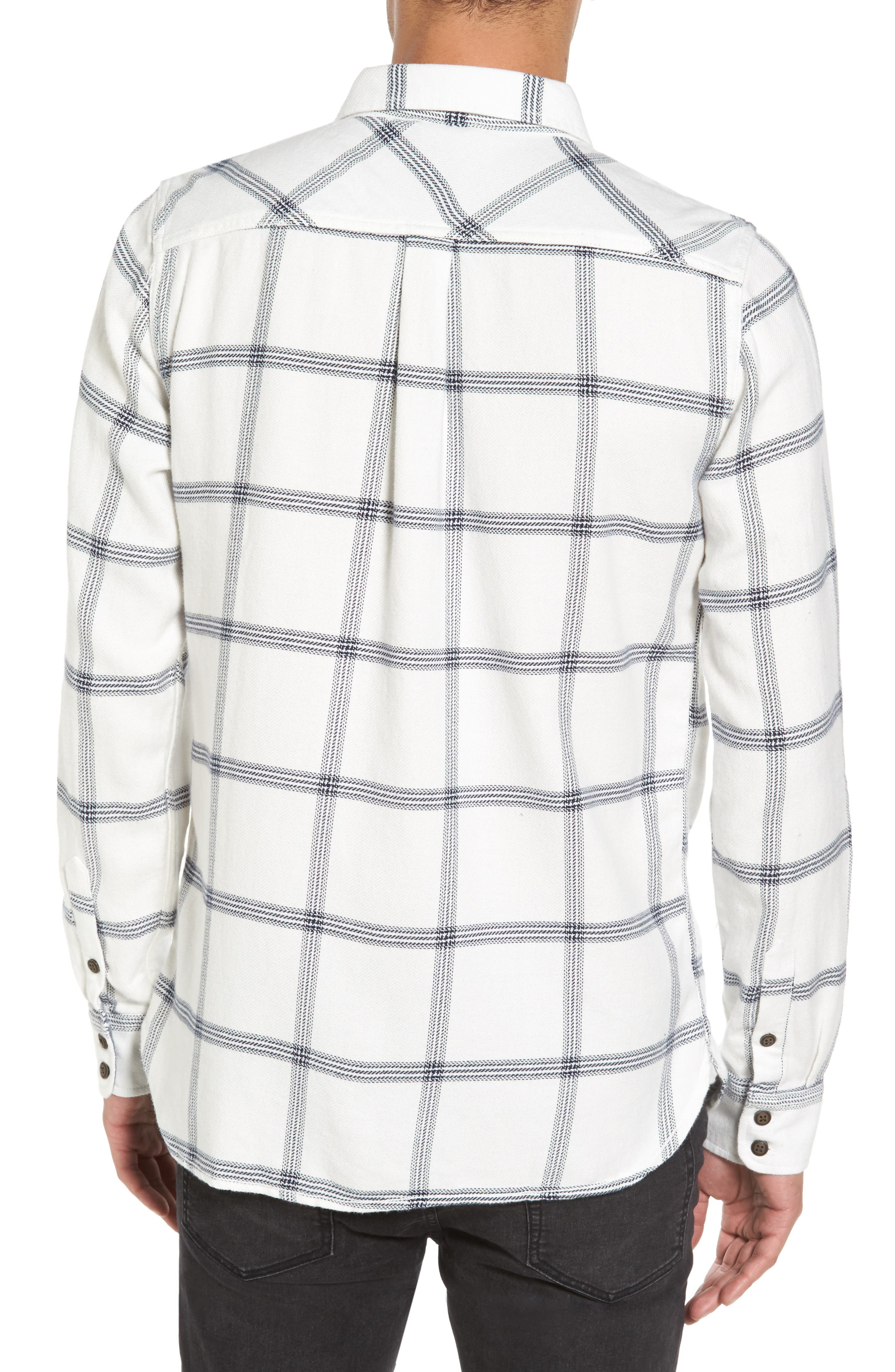 Wayland II Flannel Sport Shirt,                             Alternate thumbnail 2, color,                             Marshmallow/ Dress Blues