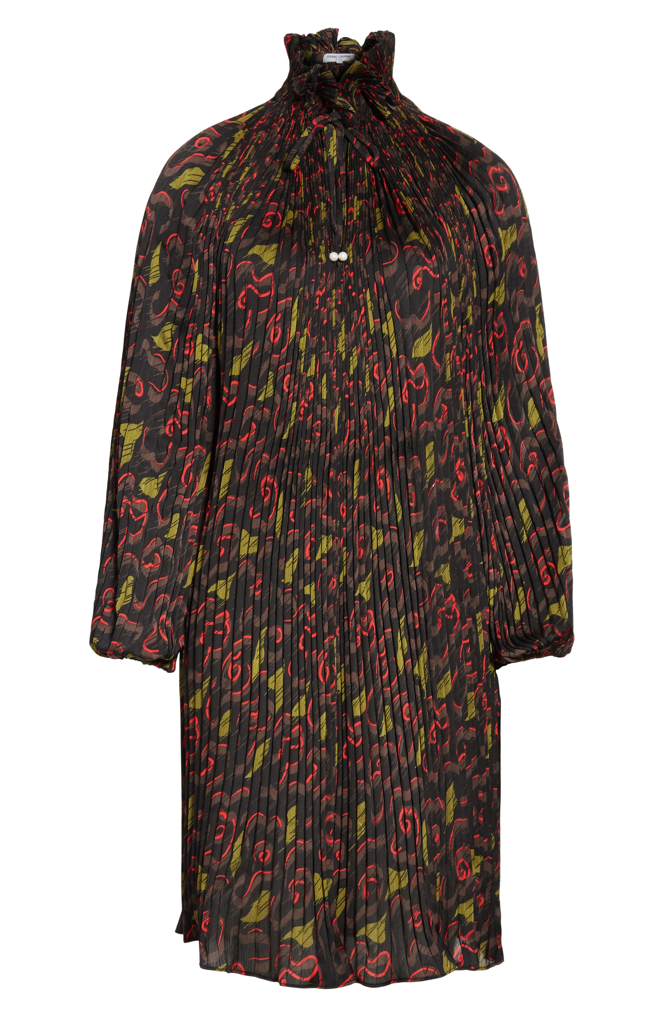 Pleated Floral Dress,                             Alternate thumbnail 6, color,                             Jewel Red Multi