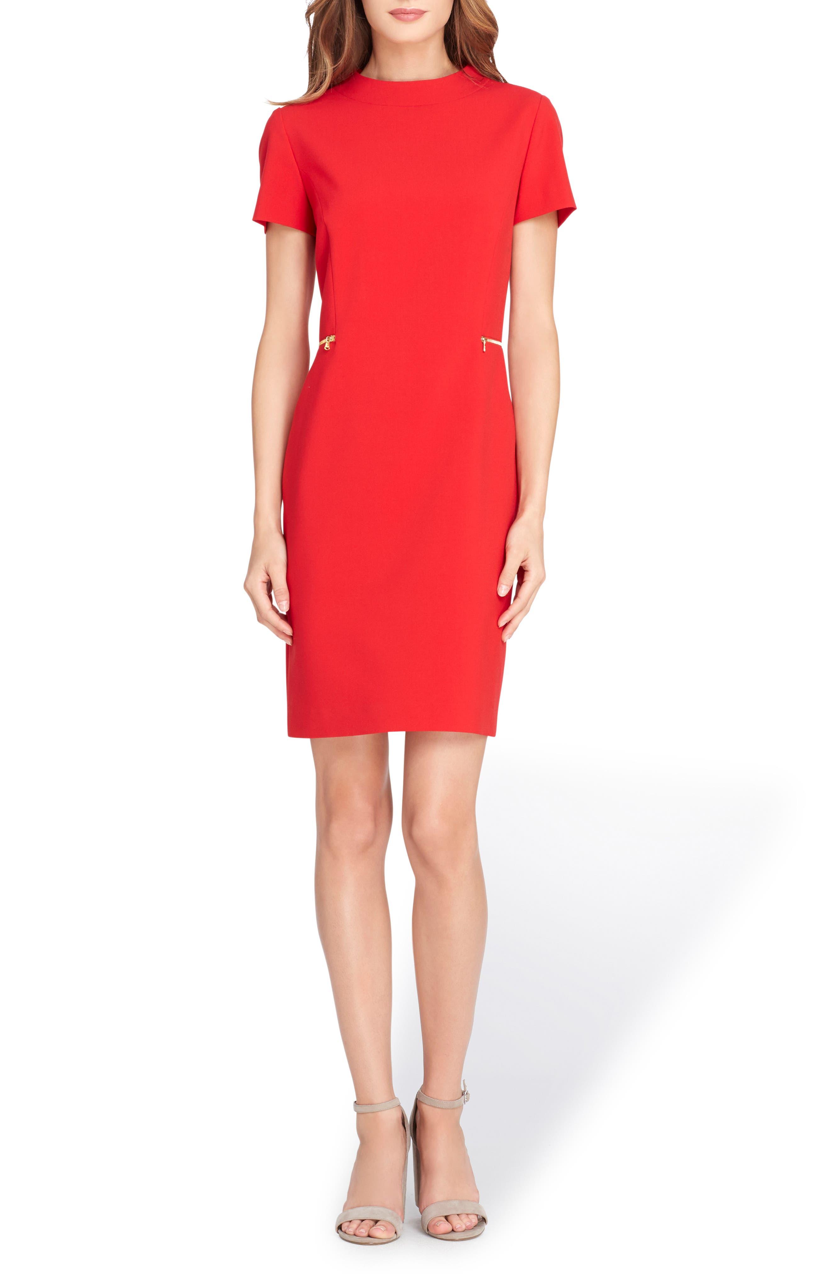 Mock Neck Sheath Dress,                         Main,                         color, Cherry Red