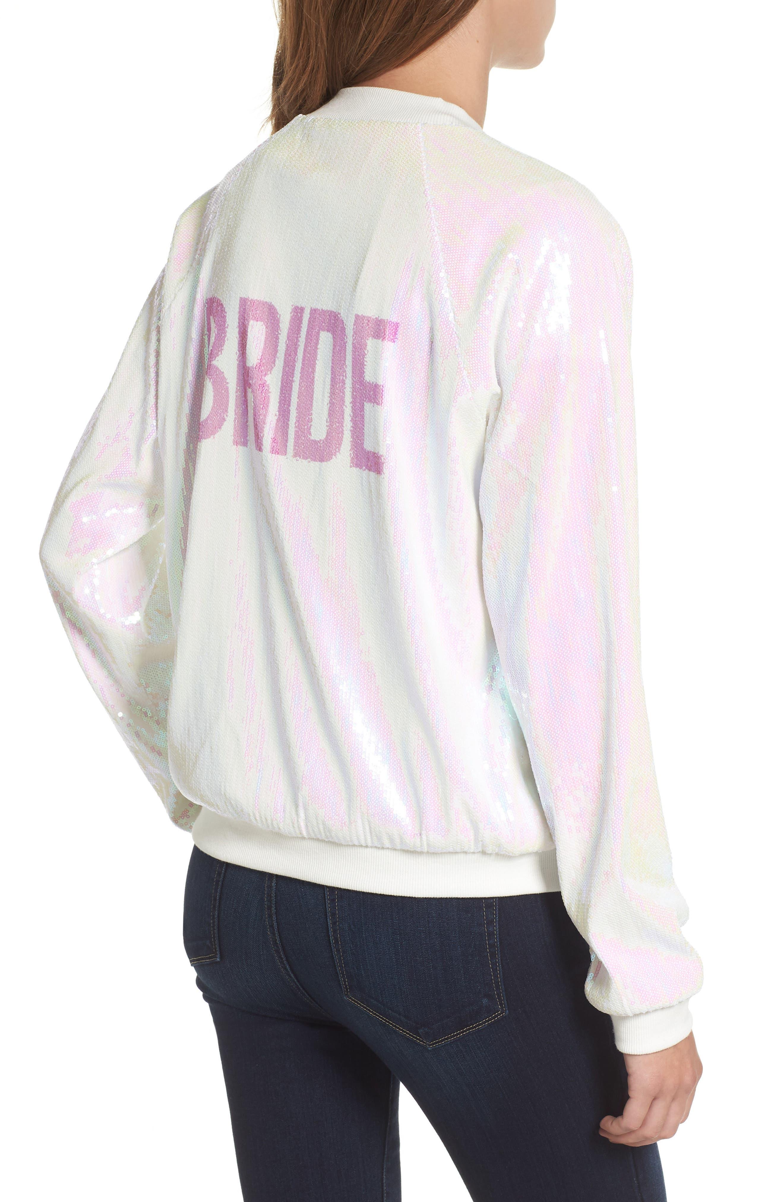 Sparkle Bride Bomber Jacket,                             Alternate thumbnail 2, color,                             Sparkle Bride