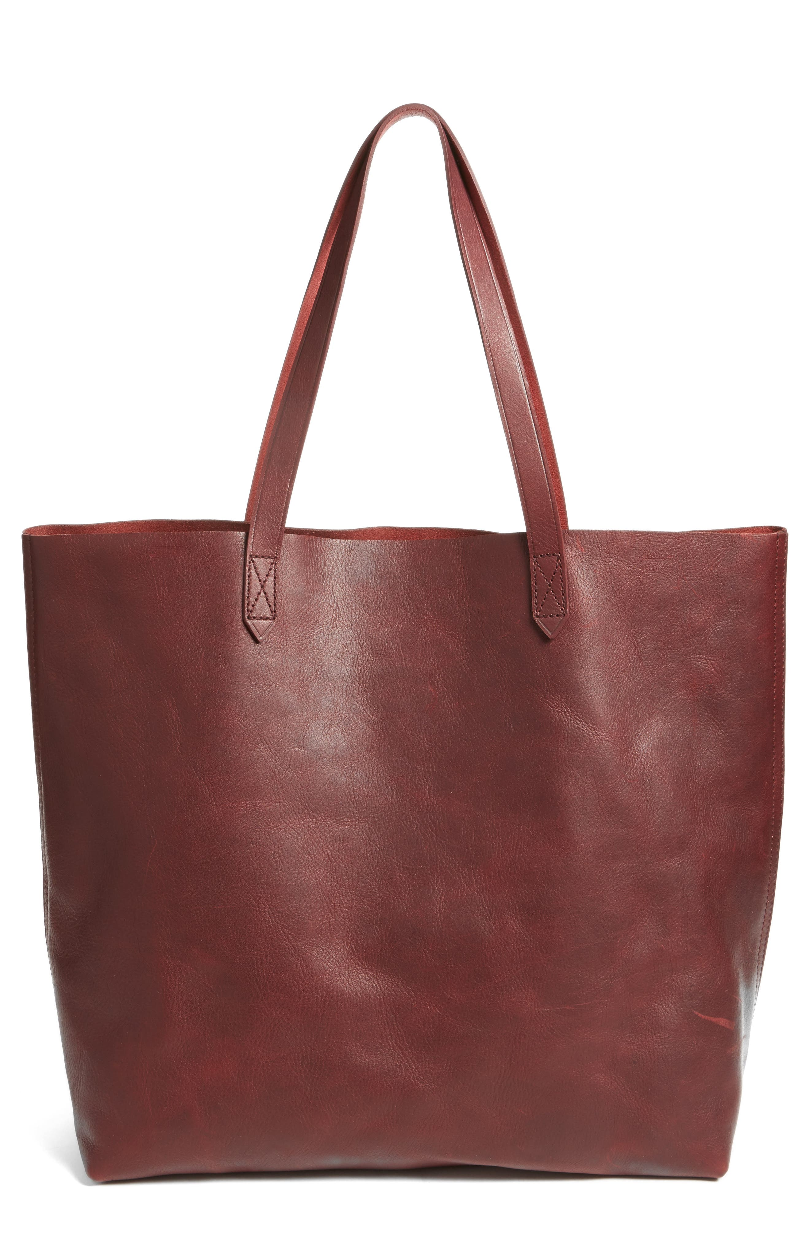 Transport Leather Tote,                             Main thumbnail 1, color,                             Dark Cocoa