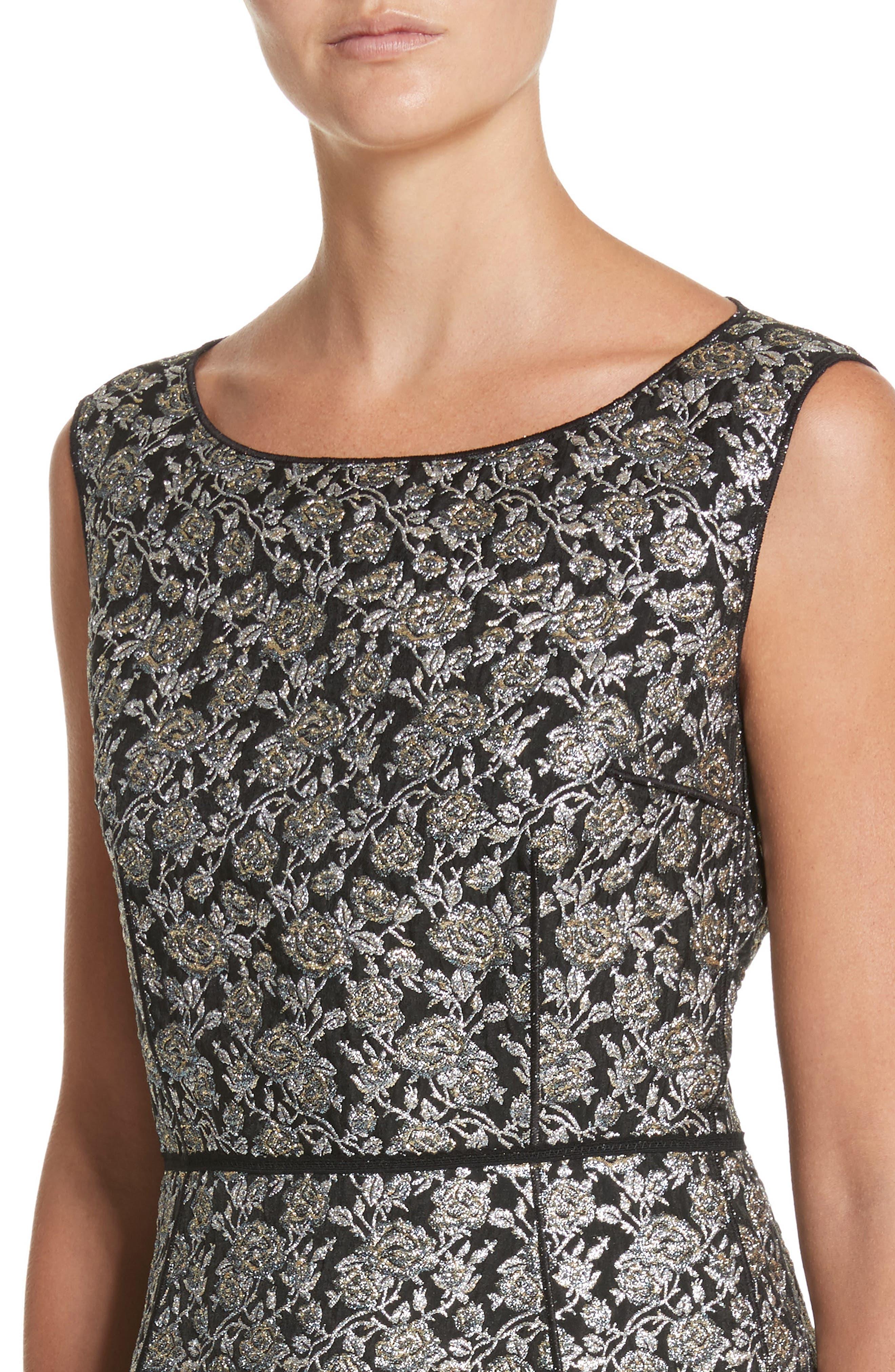 Metallic Jacquard Sheath Dress,                             Alternate thumbnail 4, color,                             Gold Multi
