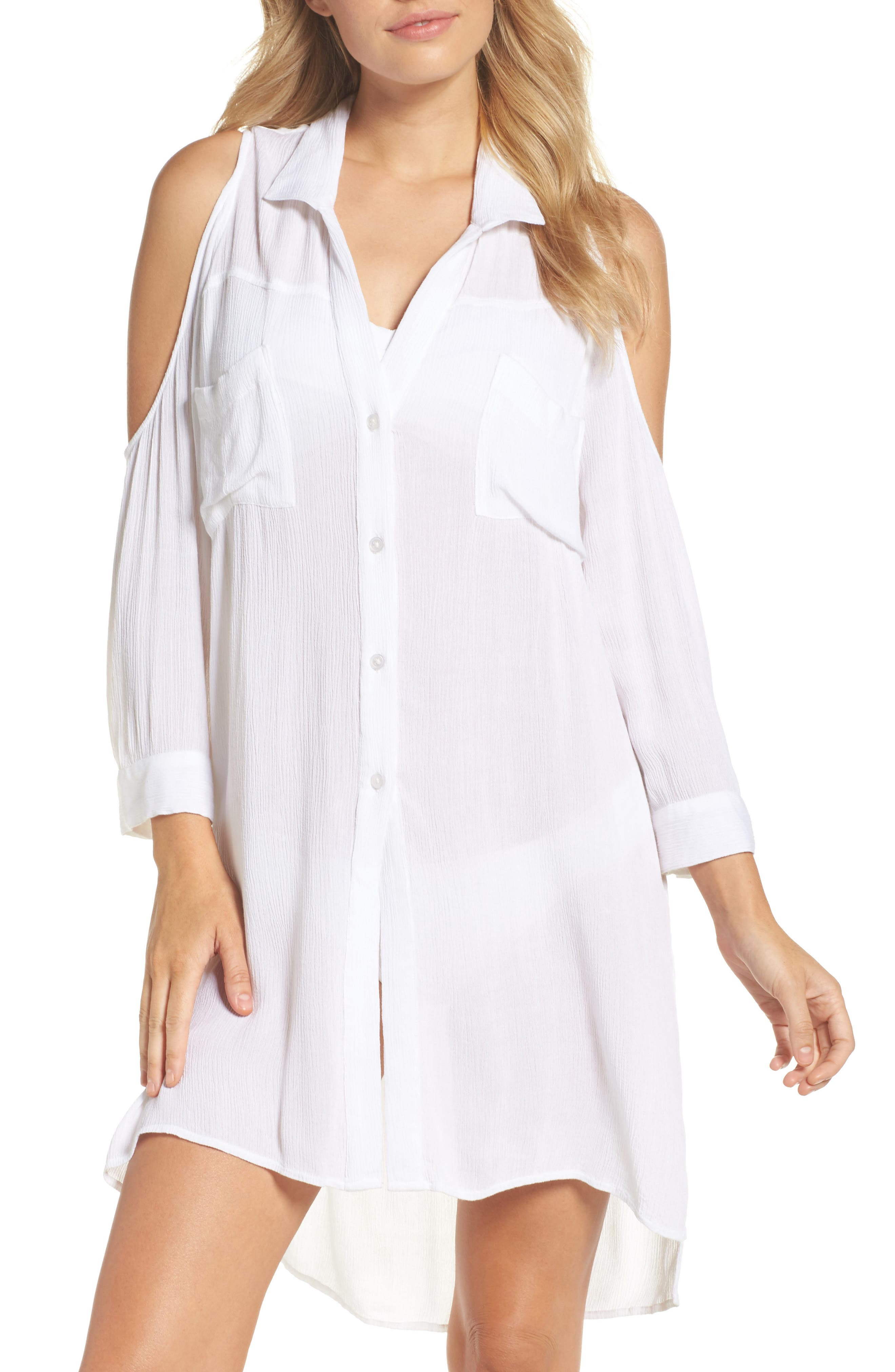 Cold-Shoulder Cover-Up,                             Main thumbnail 1, color,                             White