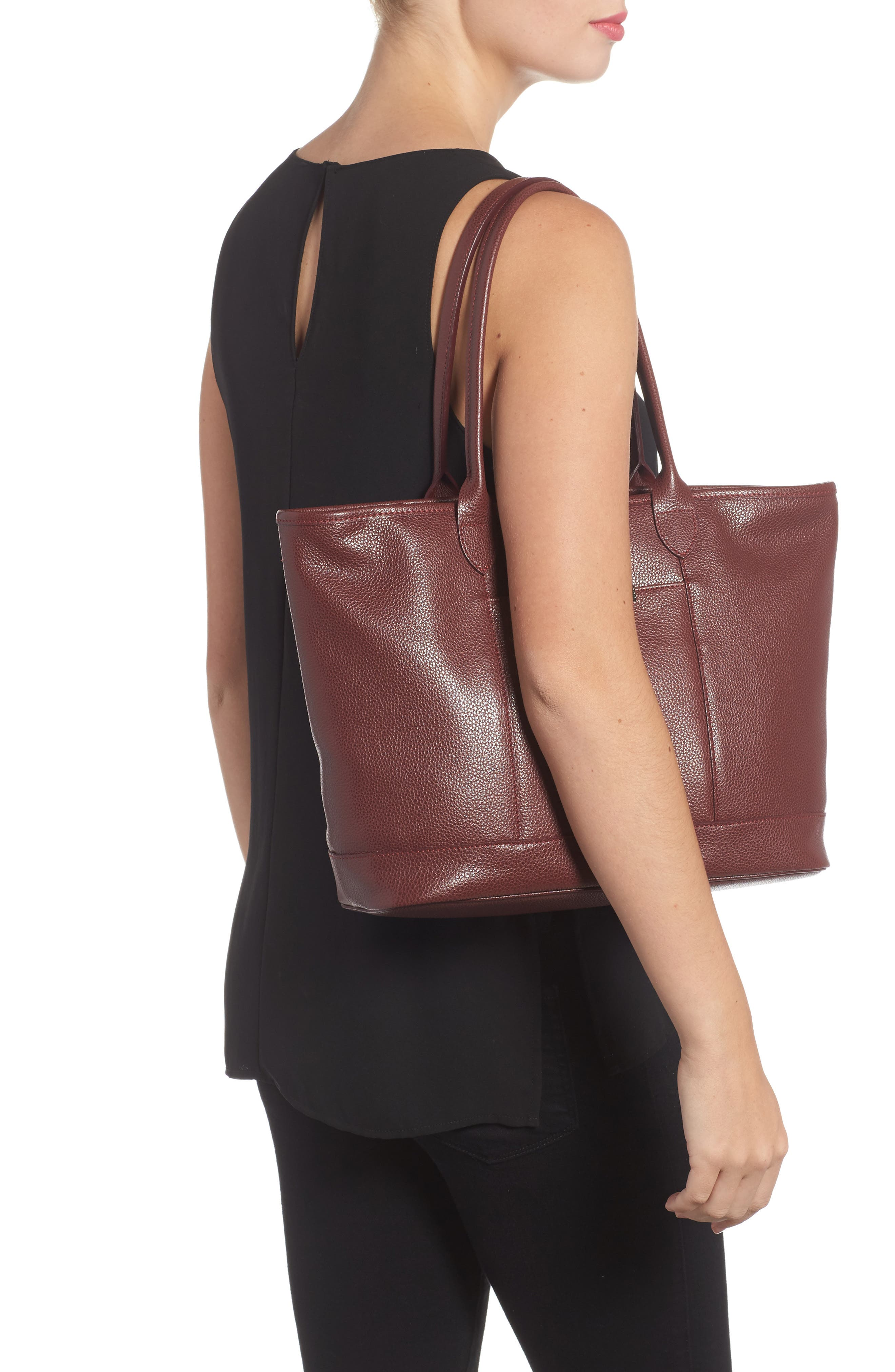 'Veau' Leather Tote,                             Alternate thumbnail 2, color,                             Red Lacquer