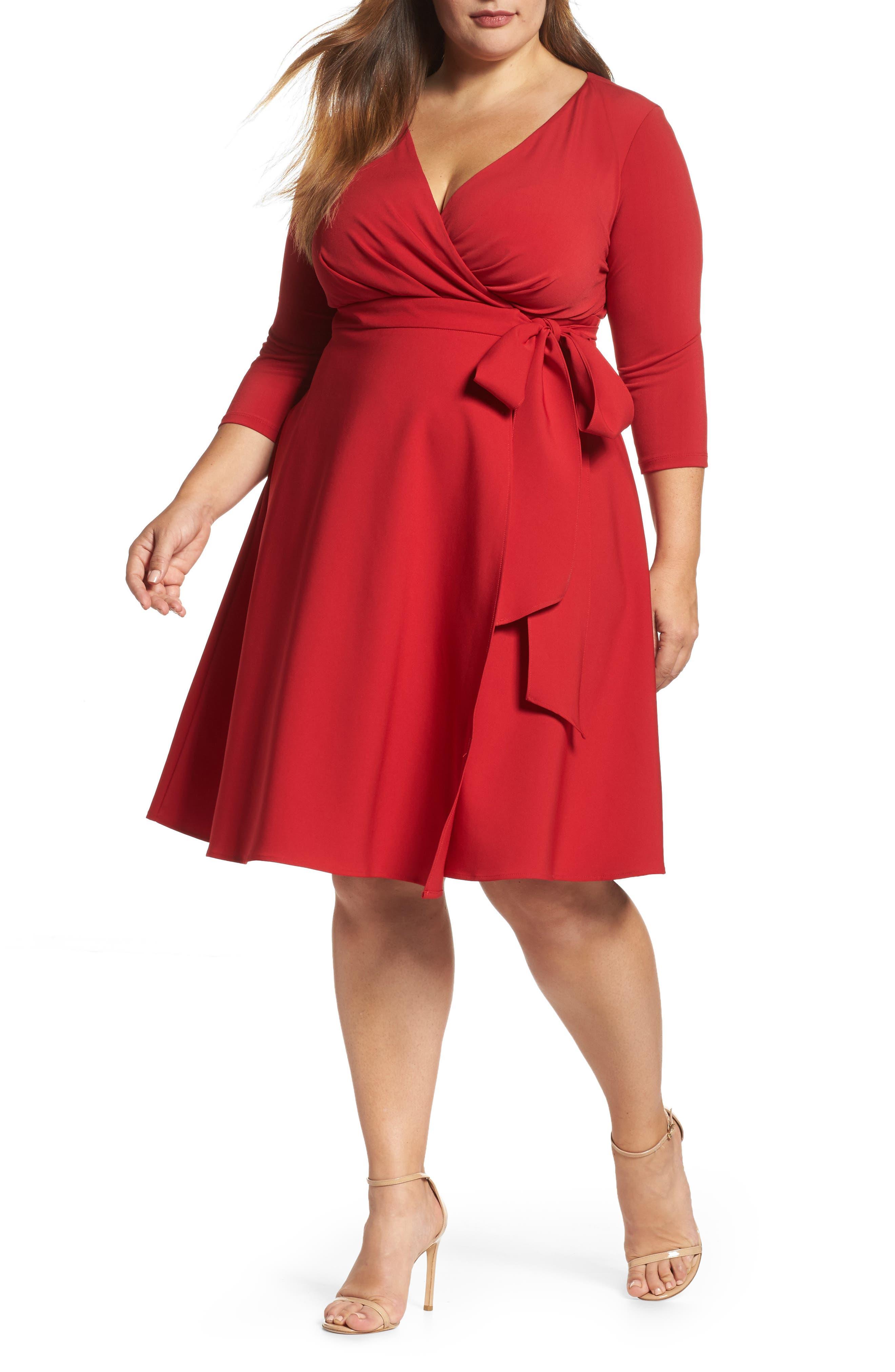 Fit & Flare Wrap Dress,                         Main,                         color, Cardinal