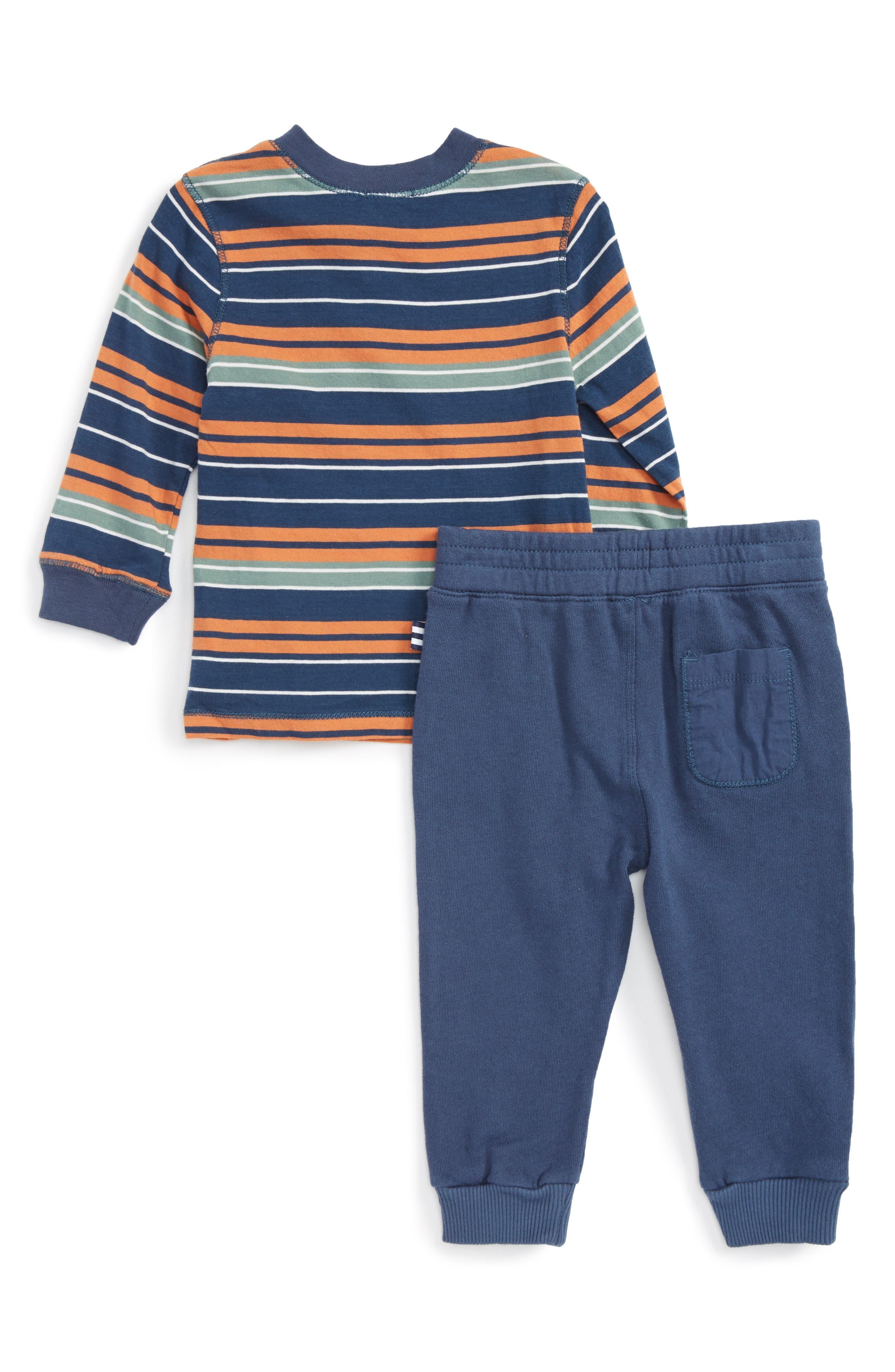 Alternate Image 2  - Splendid Stripe Henley T-Shirt & Pants Set (Baby Boys)