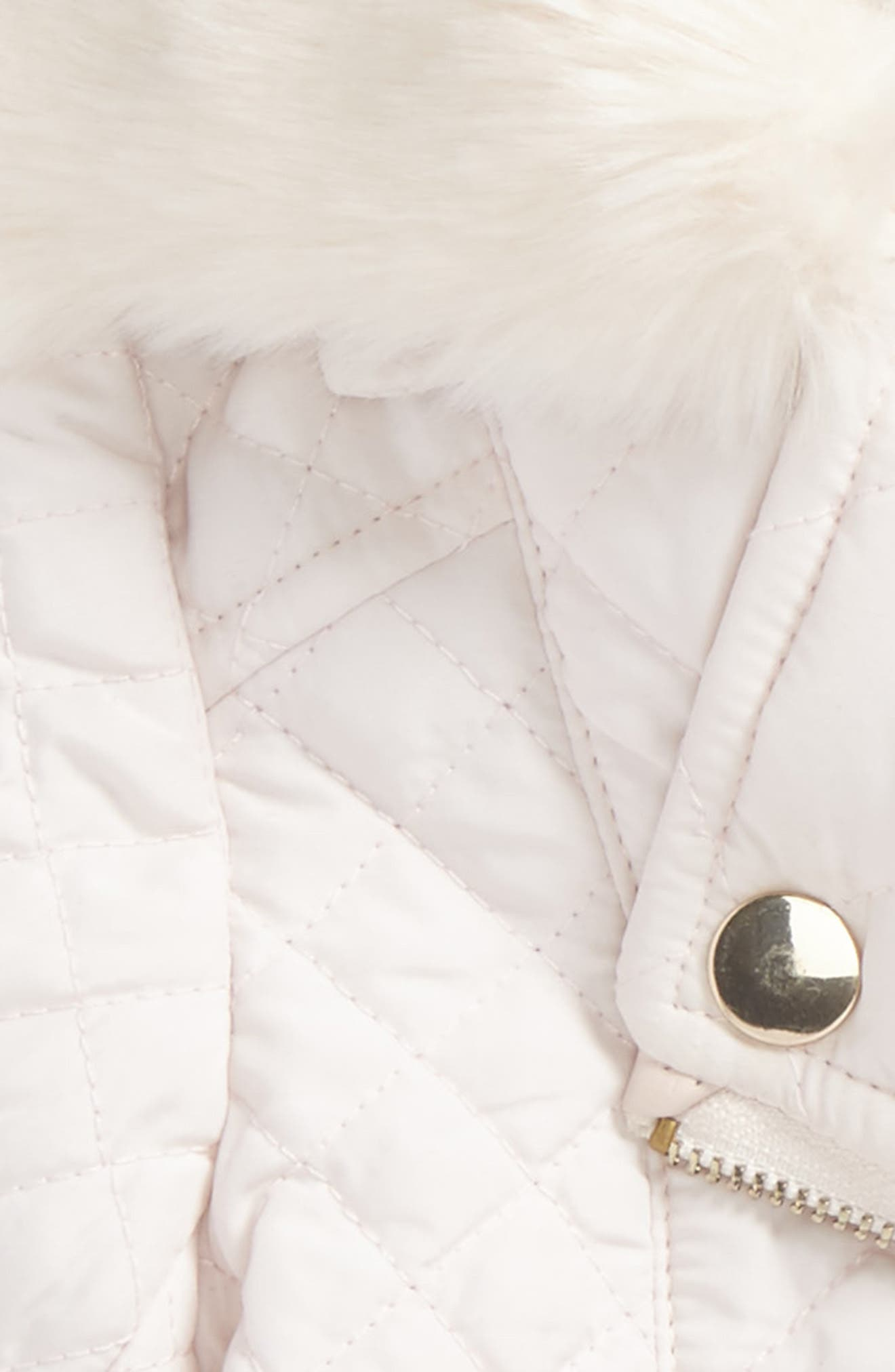 Alternate Image 2  - Bardot Junior Quilted Jacket with Faux Fur Collar (Baby Girls & Toddler Girls)