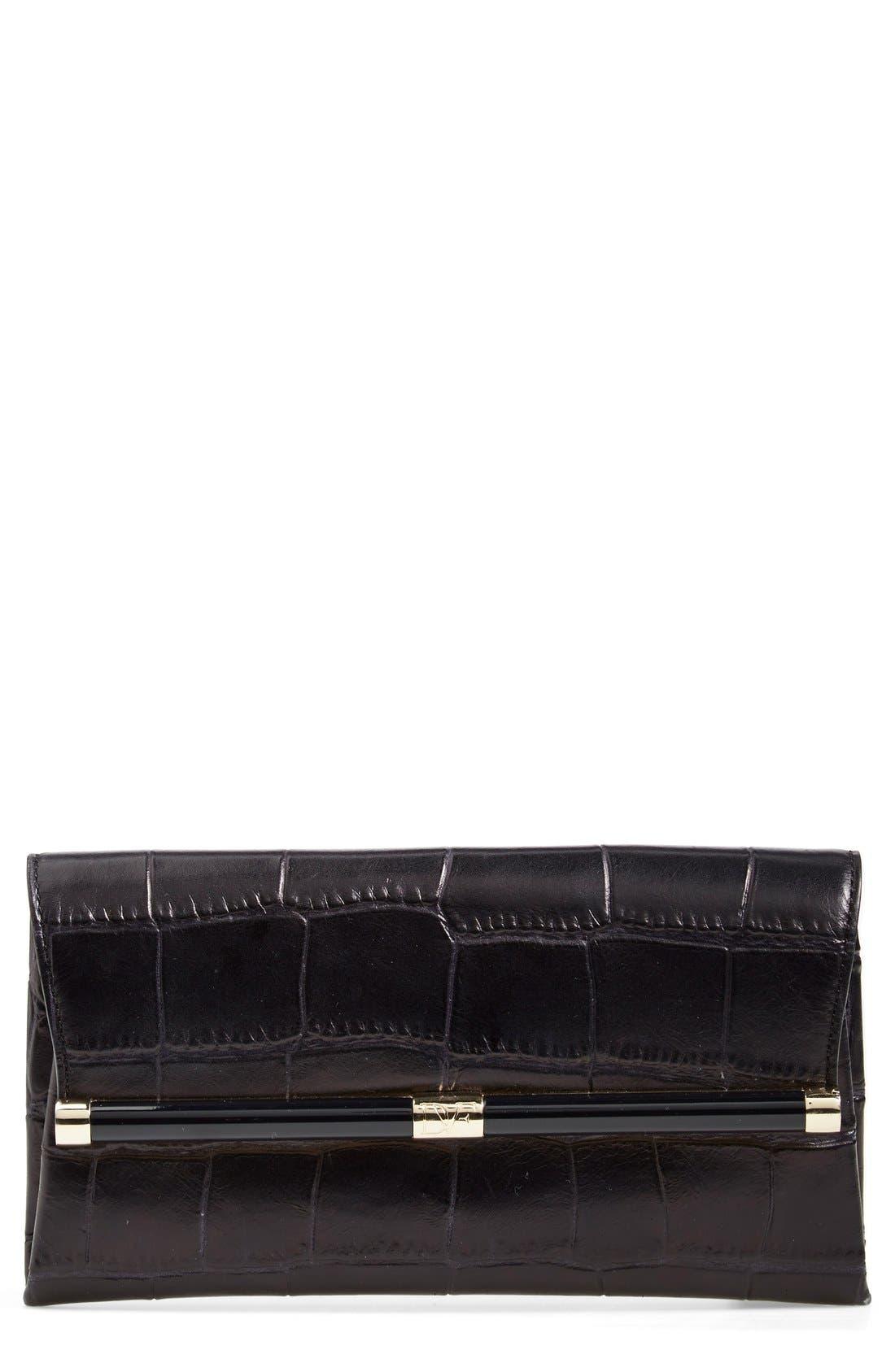 Alternate Image 1 Selected - Diane von Furstenberg '440' Croc-Embossed Leather Envelope Clutch