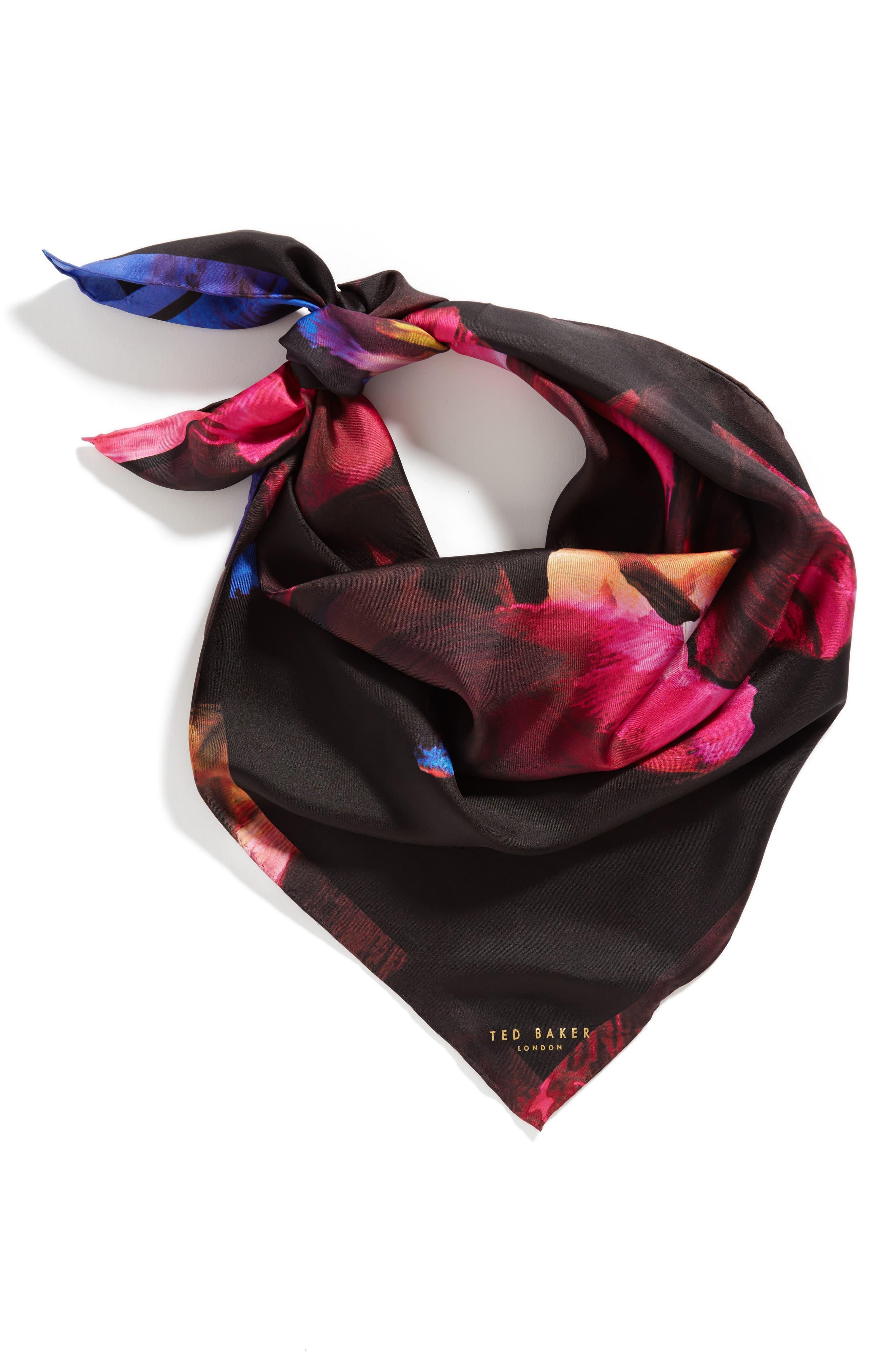 Impressionist Bloom Square Silk Scarf,                         Main,                         color, Black