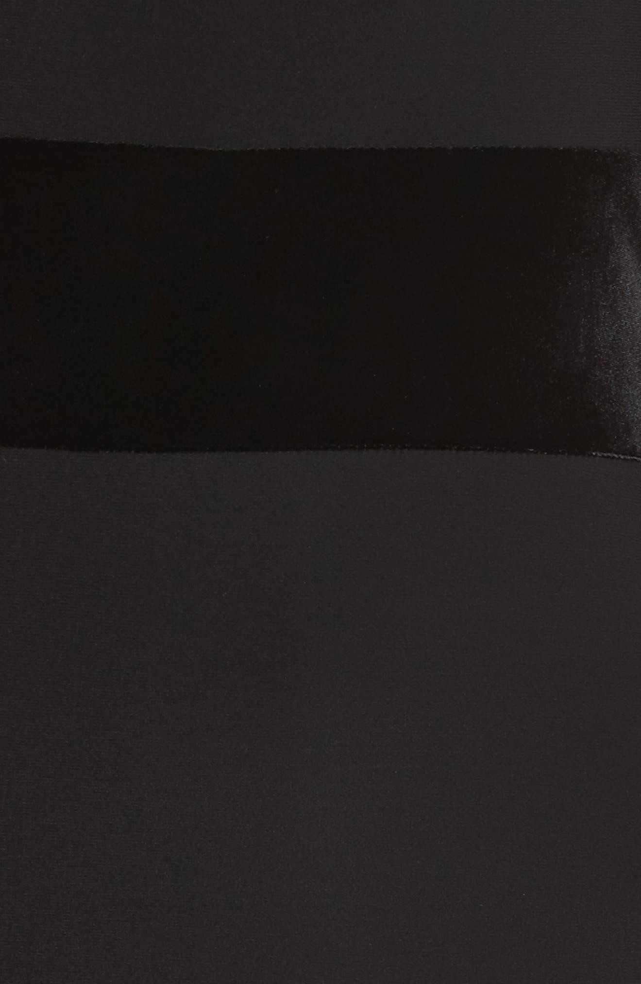 Velvet Trim Off the Shoulder Mermaid Dress,                             Alternate thumbnail 5, color,                             Black