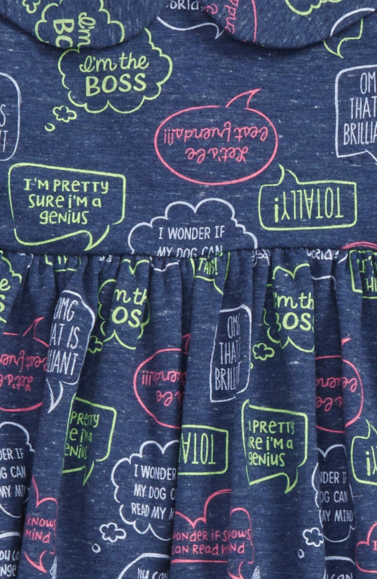 Word Bubble Graphic Print Dress & Headband Set,                             Alternate thumbnail 2, color,                             Navy