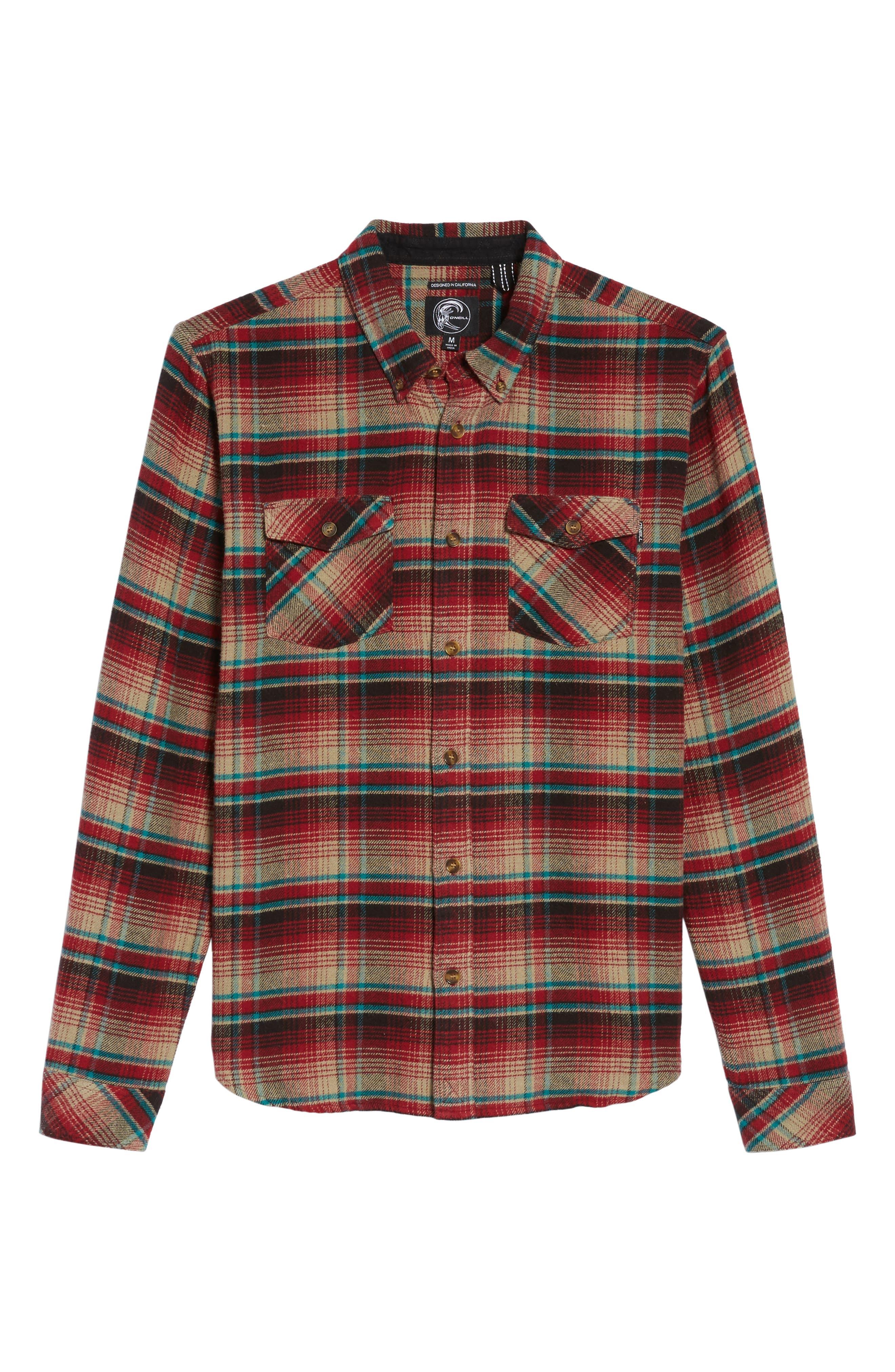 Butler Plaid Flannel Sport Shirt,                             Alternate thumbnail 6, color,                             Crimson
