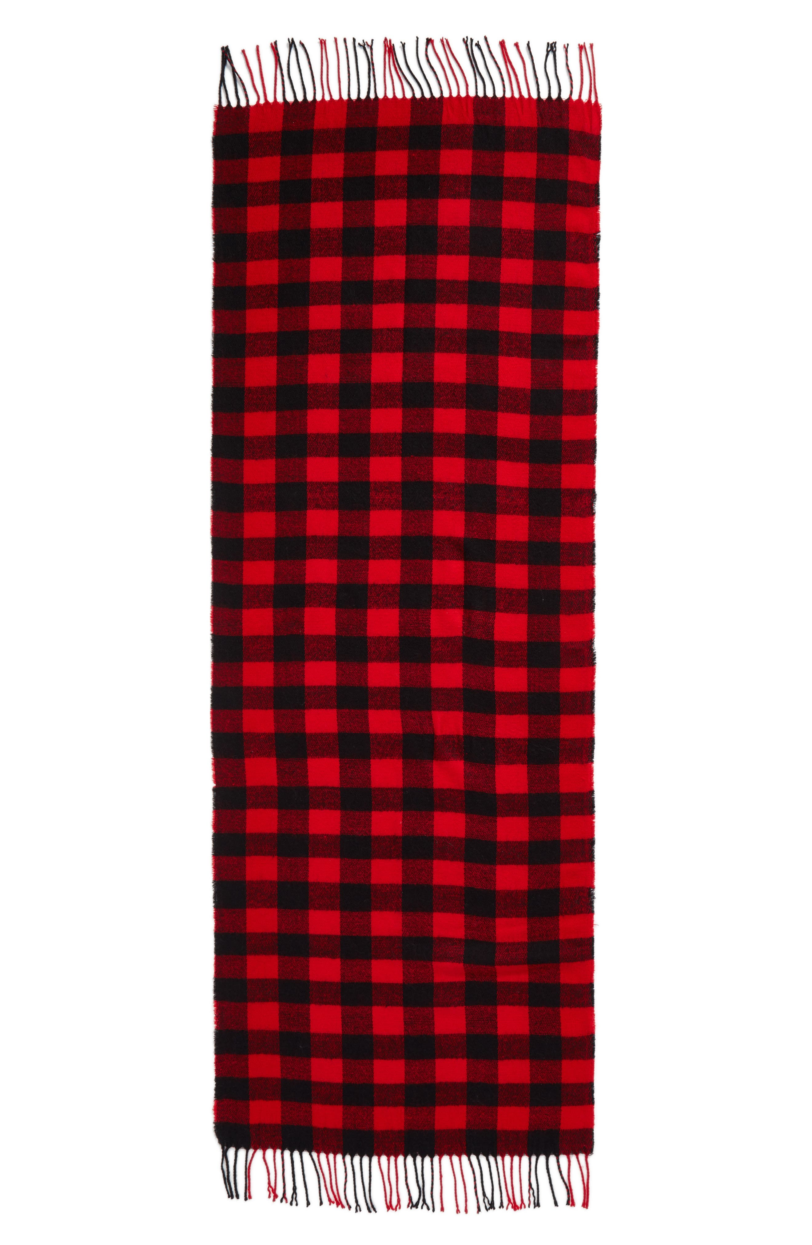 Buffalo Plaid Oblong Scarf,                             Alternate thumbnail 3, color,                             Black/ Red